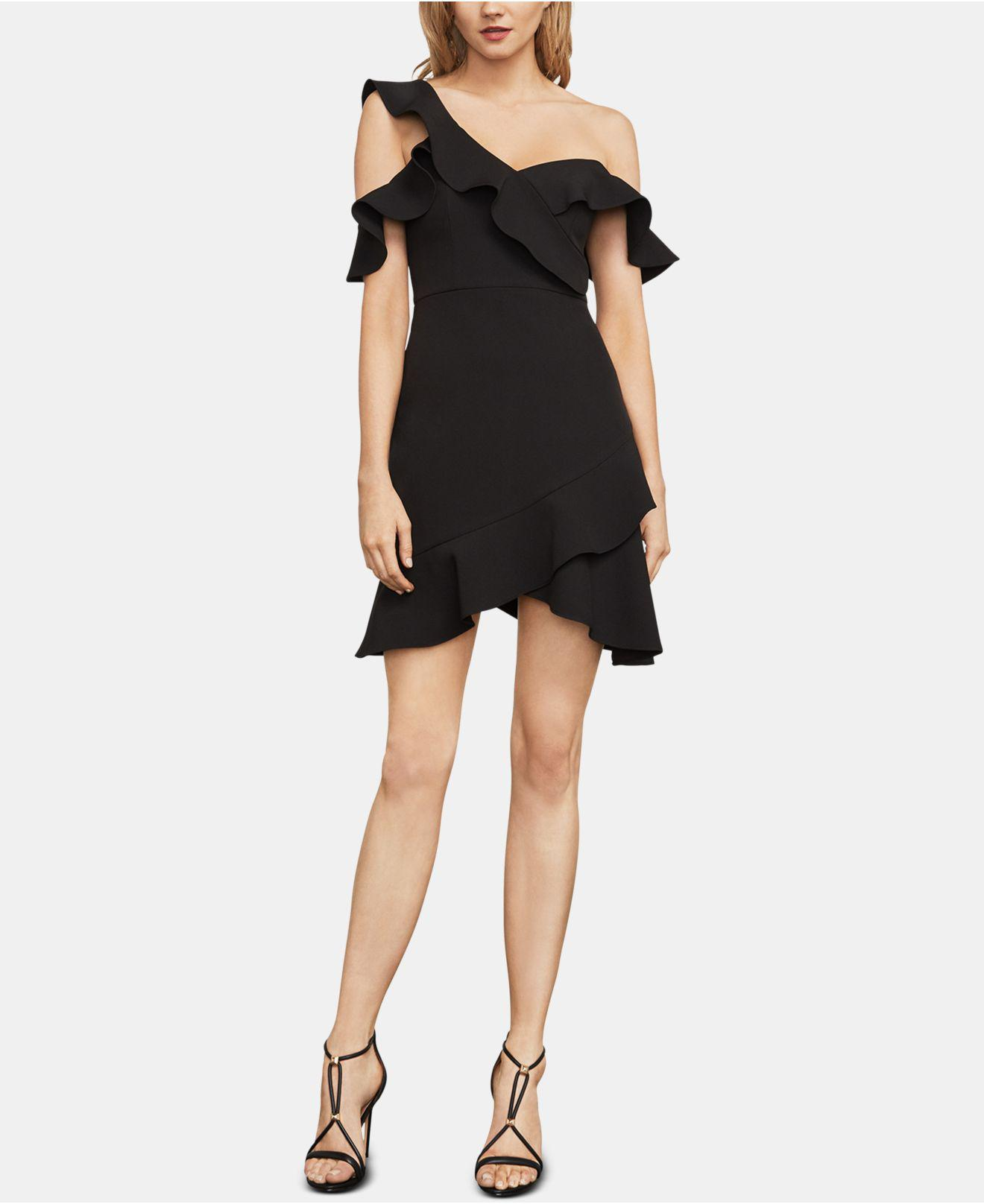 f3bf4fc4a2ed Lyst - Bcbgmaxazria Malik Asymmetrical Off-the-shoulder Dress in Black