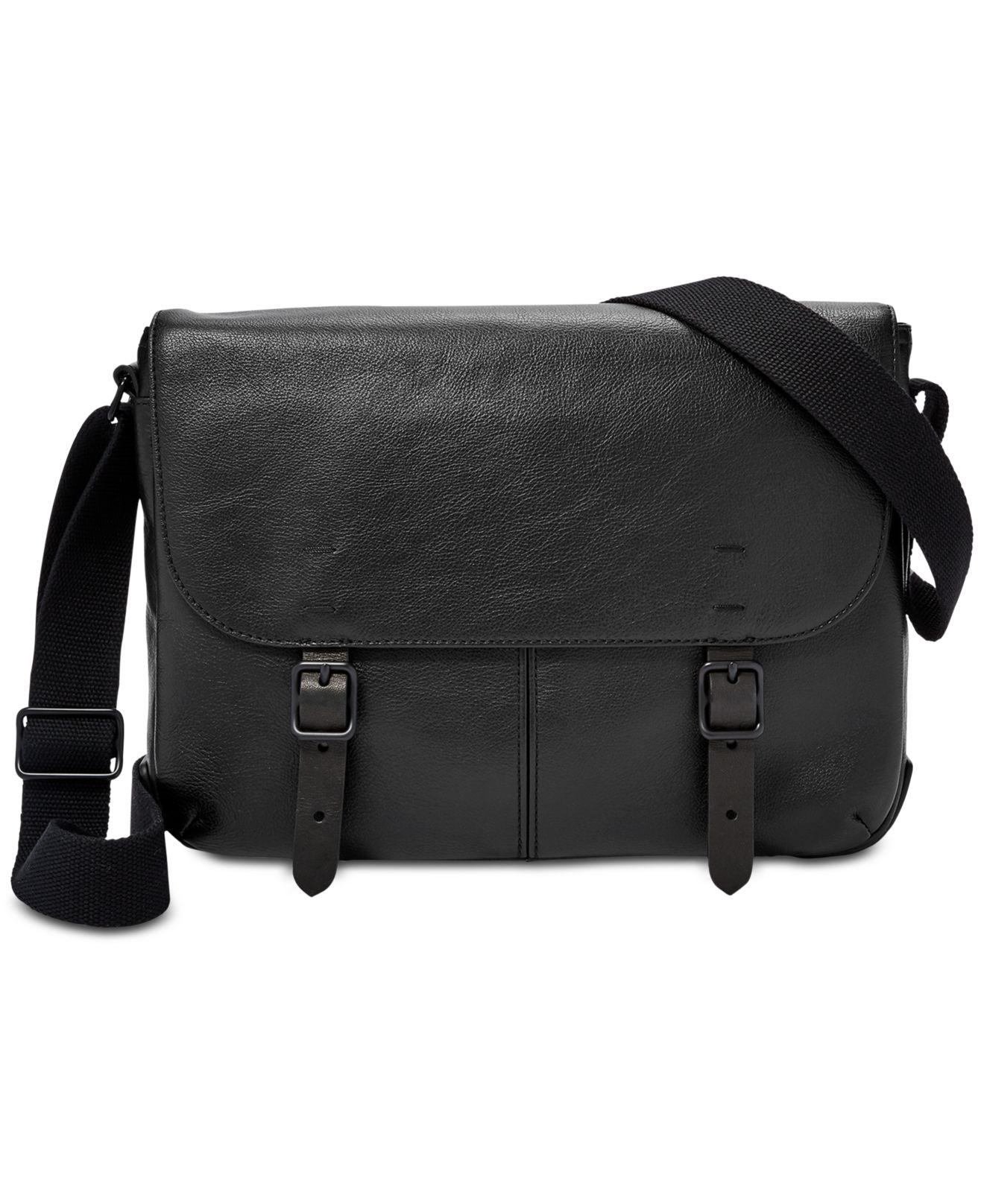 Lyst - Fossil Men s Buckner Small Leather Commuter Bag in Black for ... 8be2afeca1