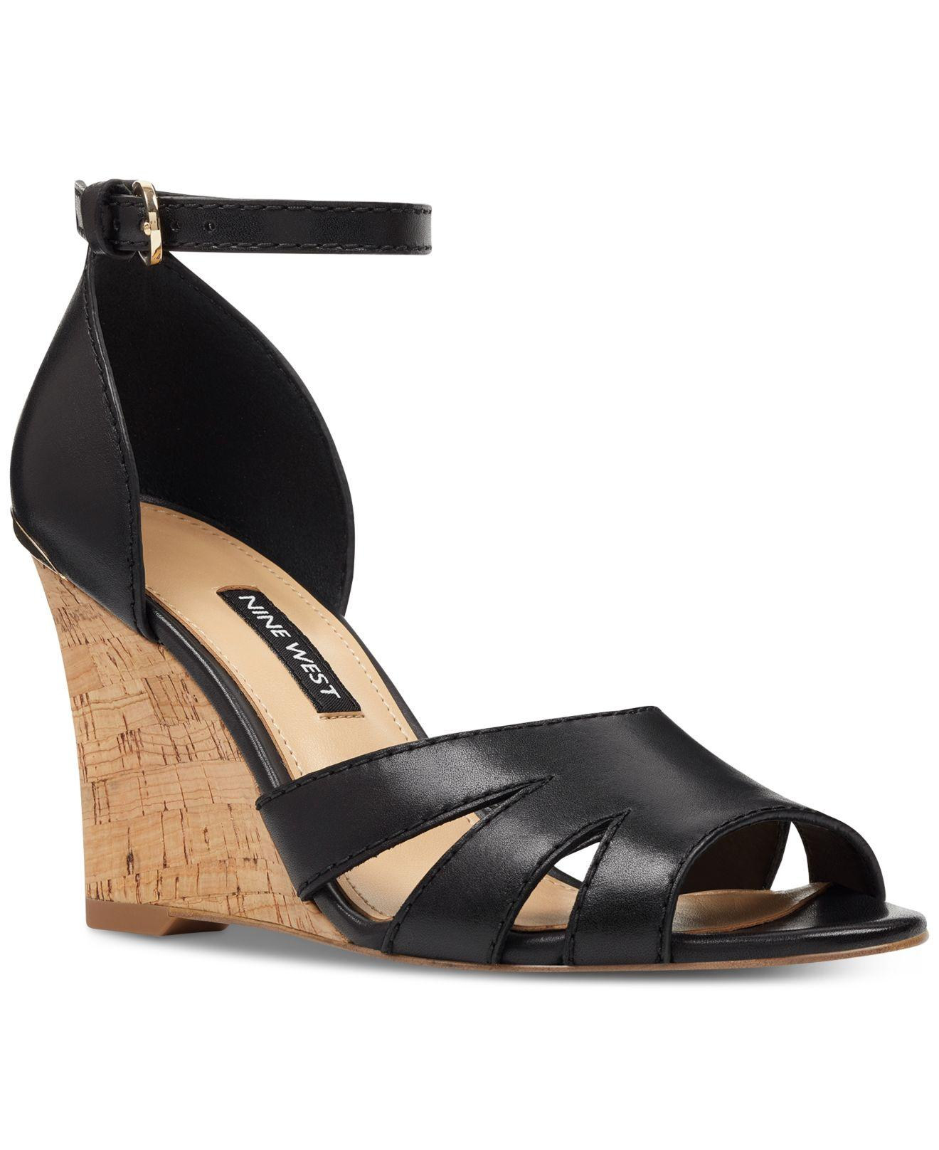 a780d59a1b Nine West - Black Lilly Wedge Sandals - Lyst. View fullscreen