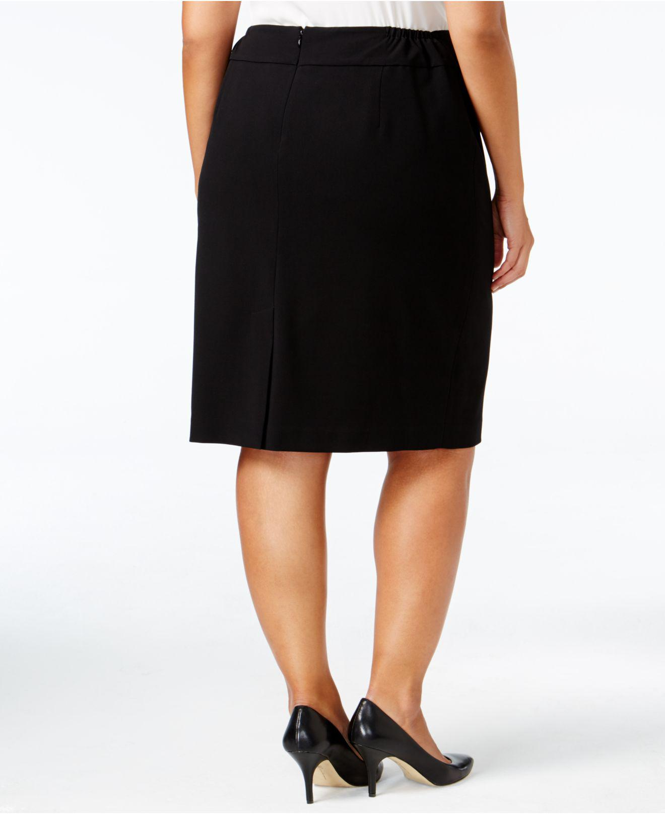 c41cbb724cfca Lyst - Nine West Plus Size Crepe Skirt in Black