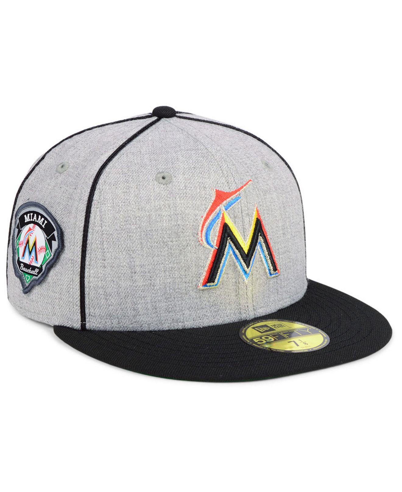 best service 0ebbd 3ce62 KTZ - Multicolor Miami Marlins Stache 59fifty Fitted Cap for Men - Lyst. View  fullscreen