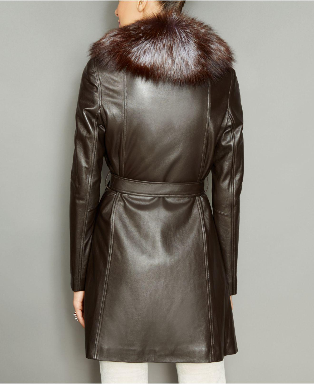 a1e27538df3 Lyst - The Fur Vault Fox-fur-collar Belted Leather Coat in Brown