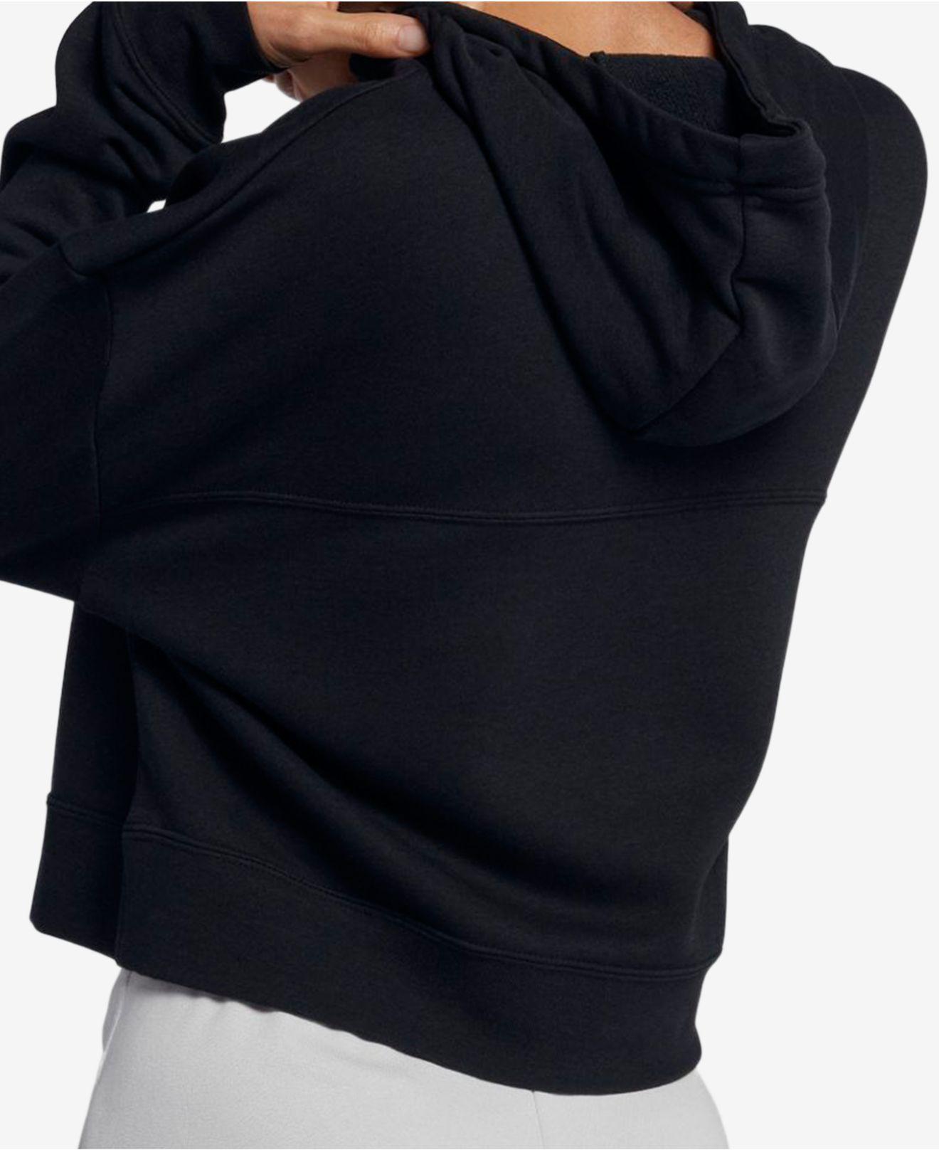 02a6e2f934795 Lyst - Nike Sportswear Rally Metallic-logo Fleece Cropped Hoodie in Black
