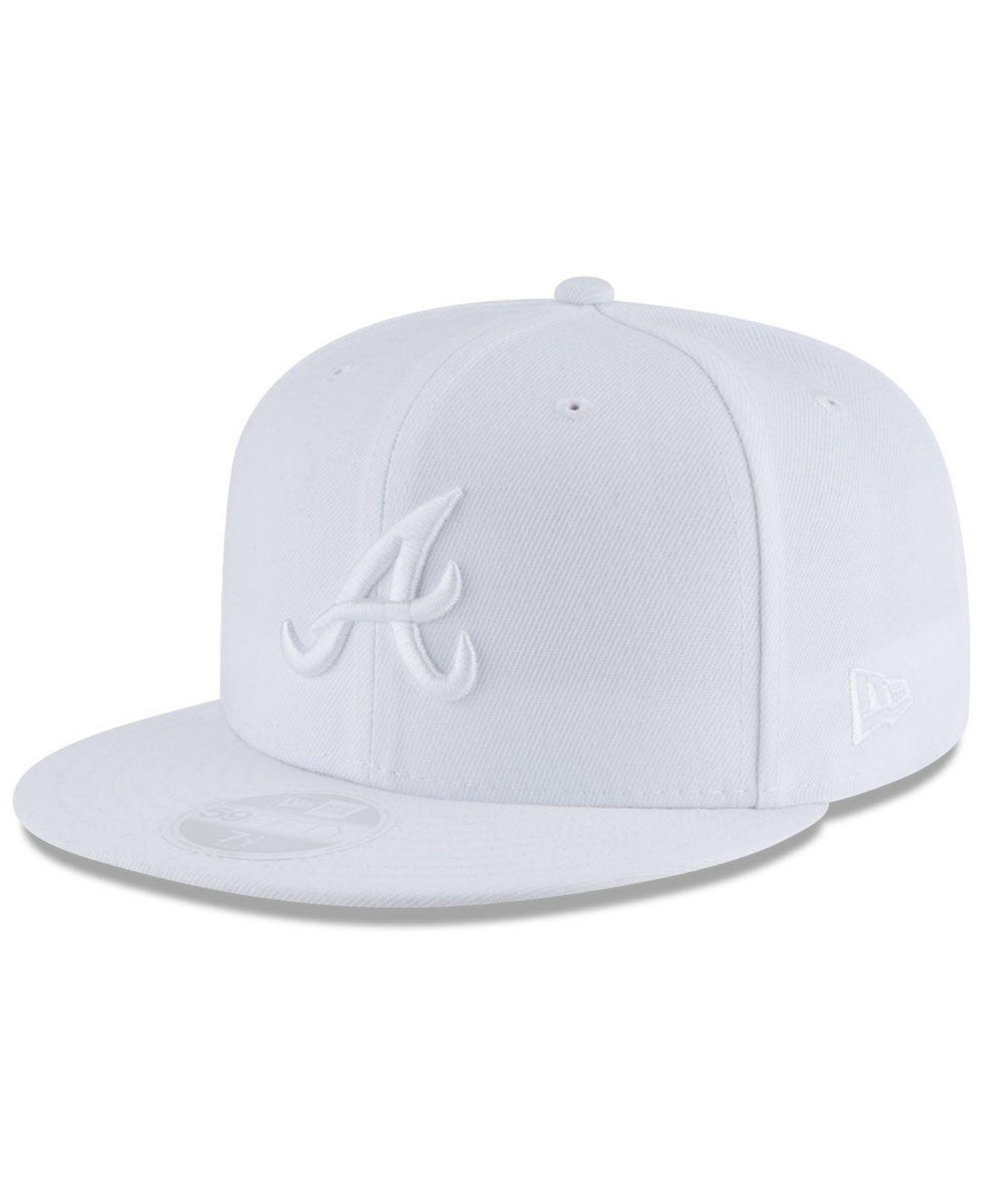 db7574271ad052 Lyst - KTZ Atlanta Braves White Out 59fifty Fitted Cap in White for Men