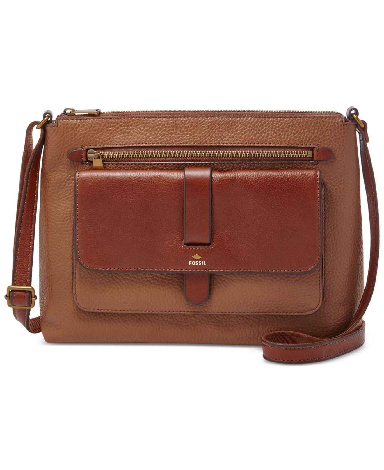 ffb255aaf5e8 Fossil - Brown Kinley Leather Medium Across Body Bag - Lyst. View fullscreen