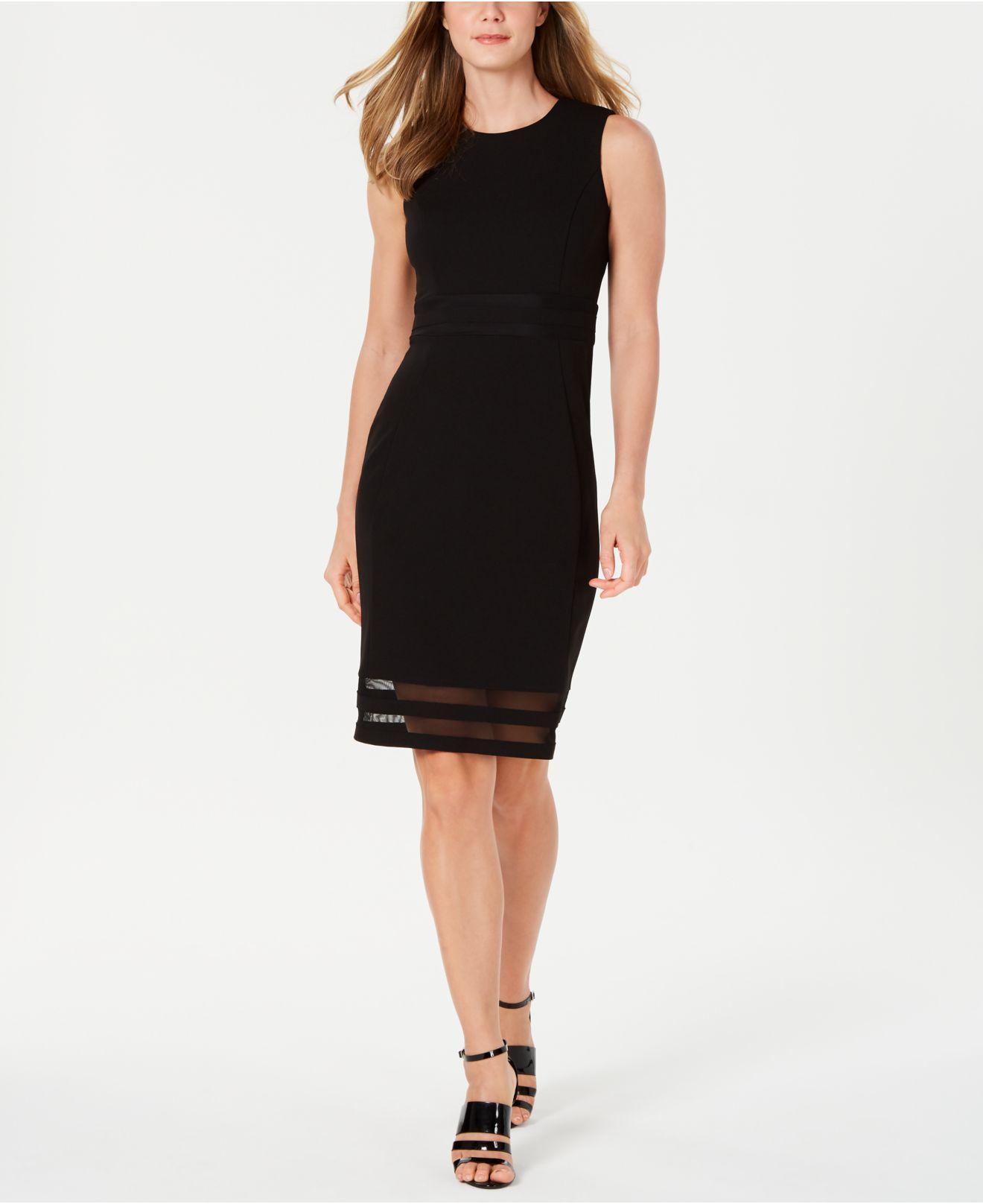 2df7c13156bd9 Lyst - Calvin Klein Illusion-hem Sheath Dress in Black