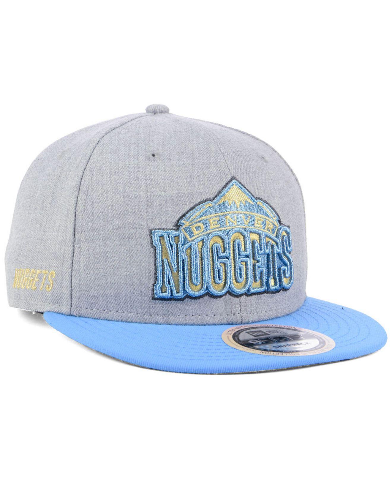 release date: 1cf6f ec1f4 Lyst - Ktz Denver Nuggets Heather Metallic 9fifty Snapback Cap in ...