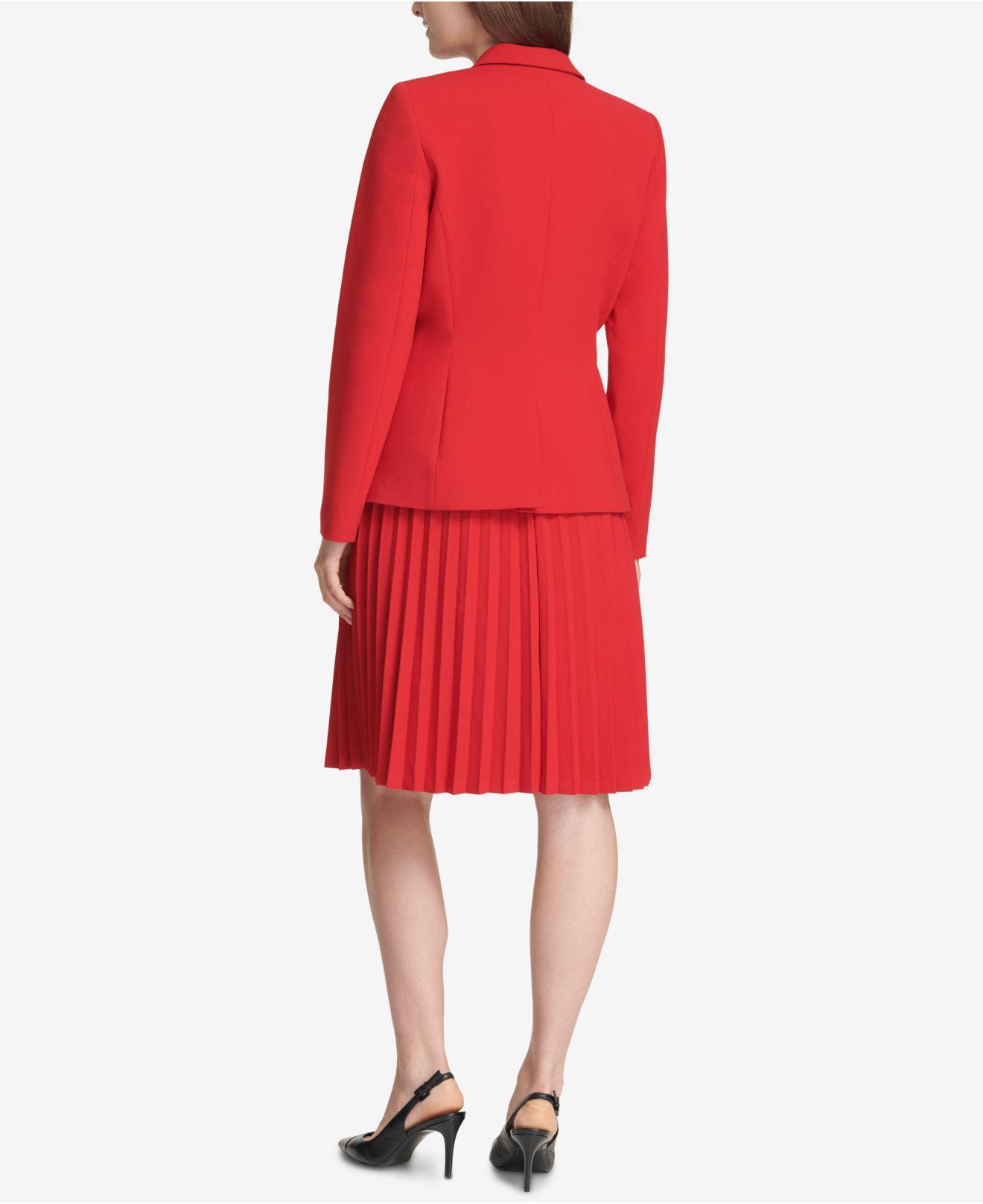 6a76f4c9b43249 Lyst - Calvin Klein One-button Notch-collar Jacket in Red