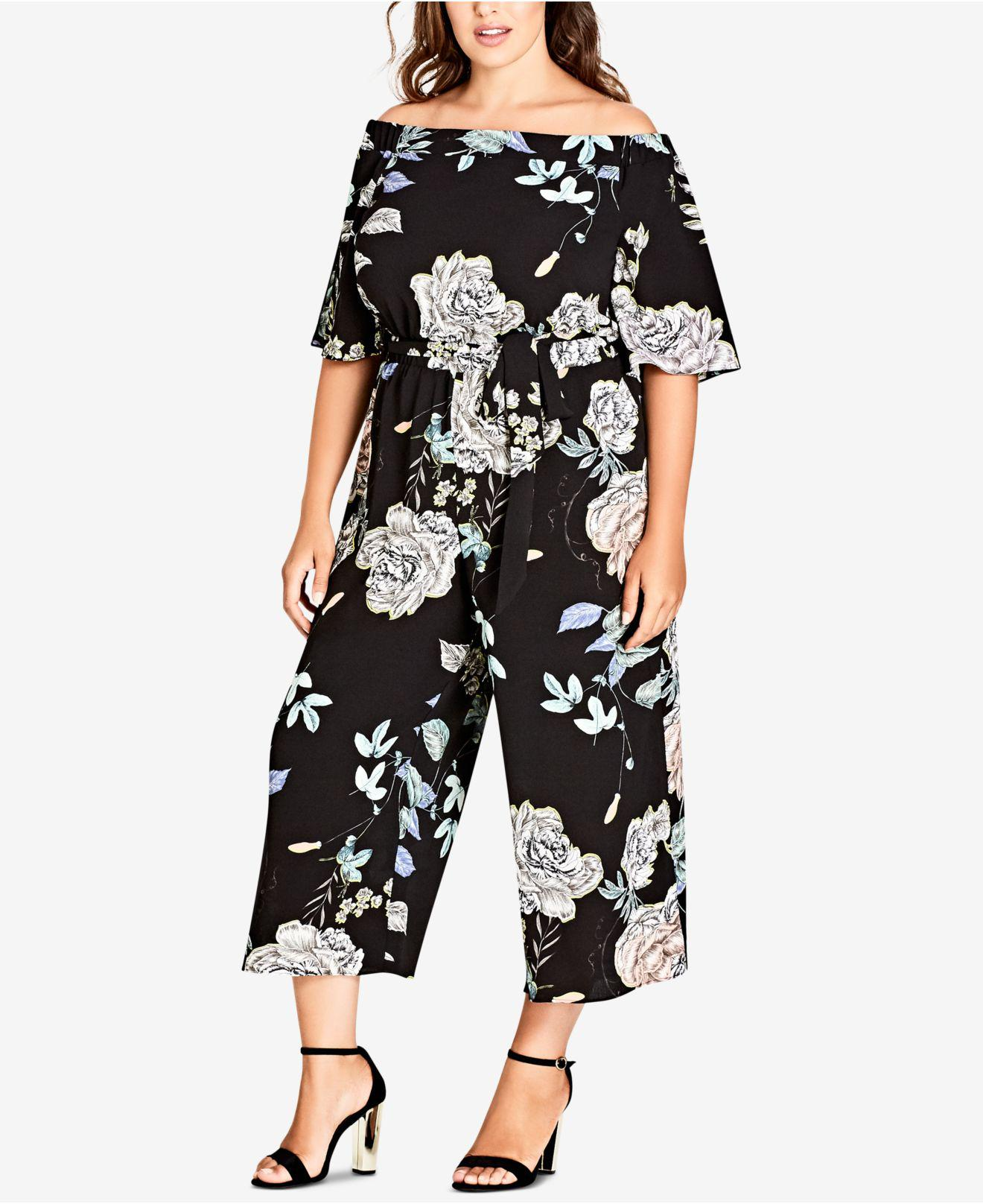 56a193f6eaa7 Lyst - City Chic Flower Show Off The Shoulder Jumpsuit in Black ...