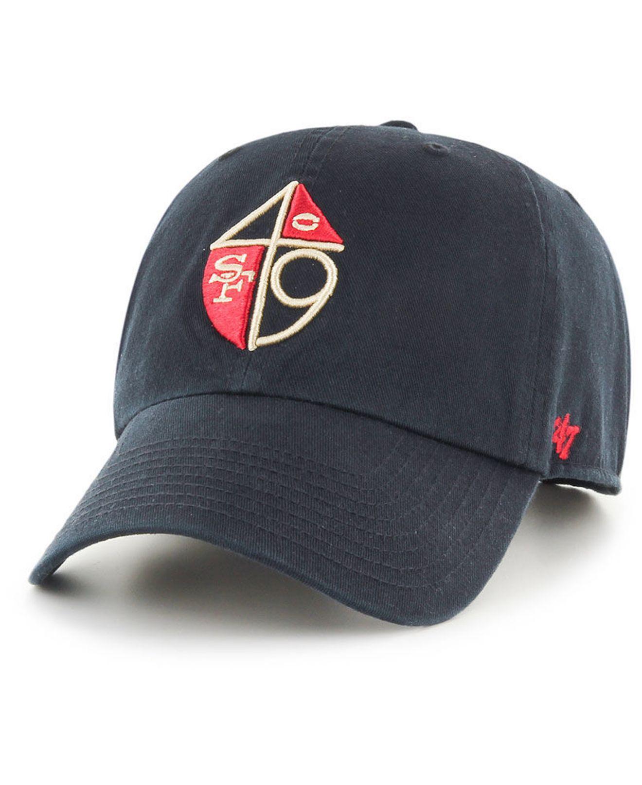 Lyst - 47 Brand San Francisco 49ers Clean Up Strapback Cap in Black ... 531fe561fd12