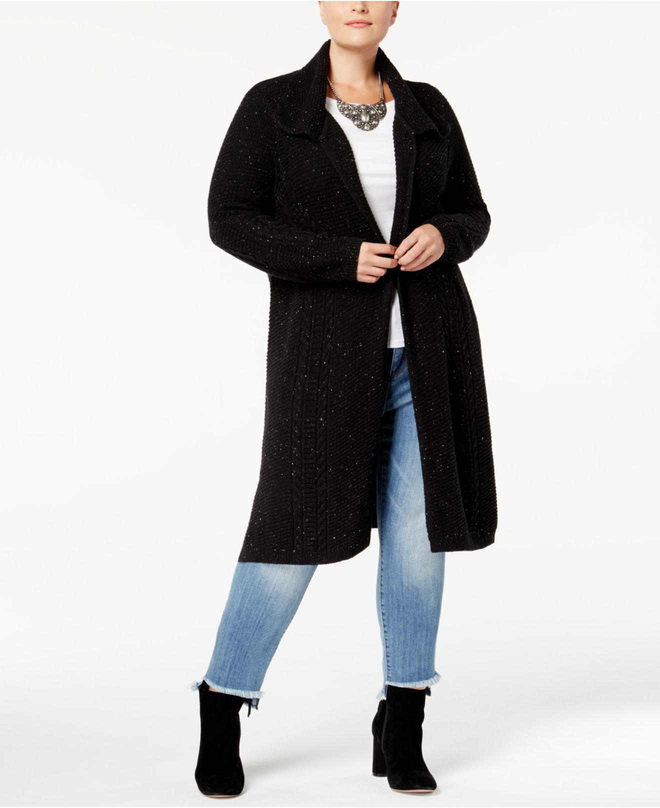 Style & co. Plus Size Cable-knit Open-front Duster Cardigan in ...