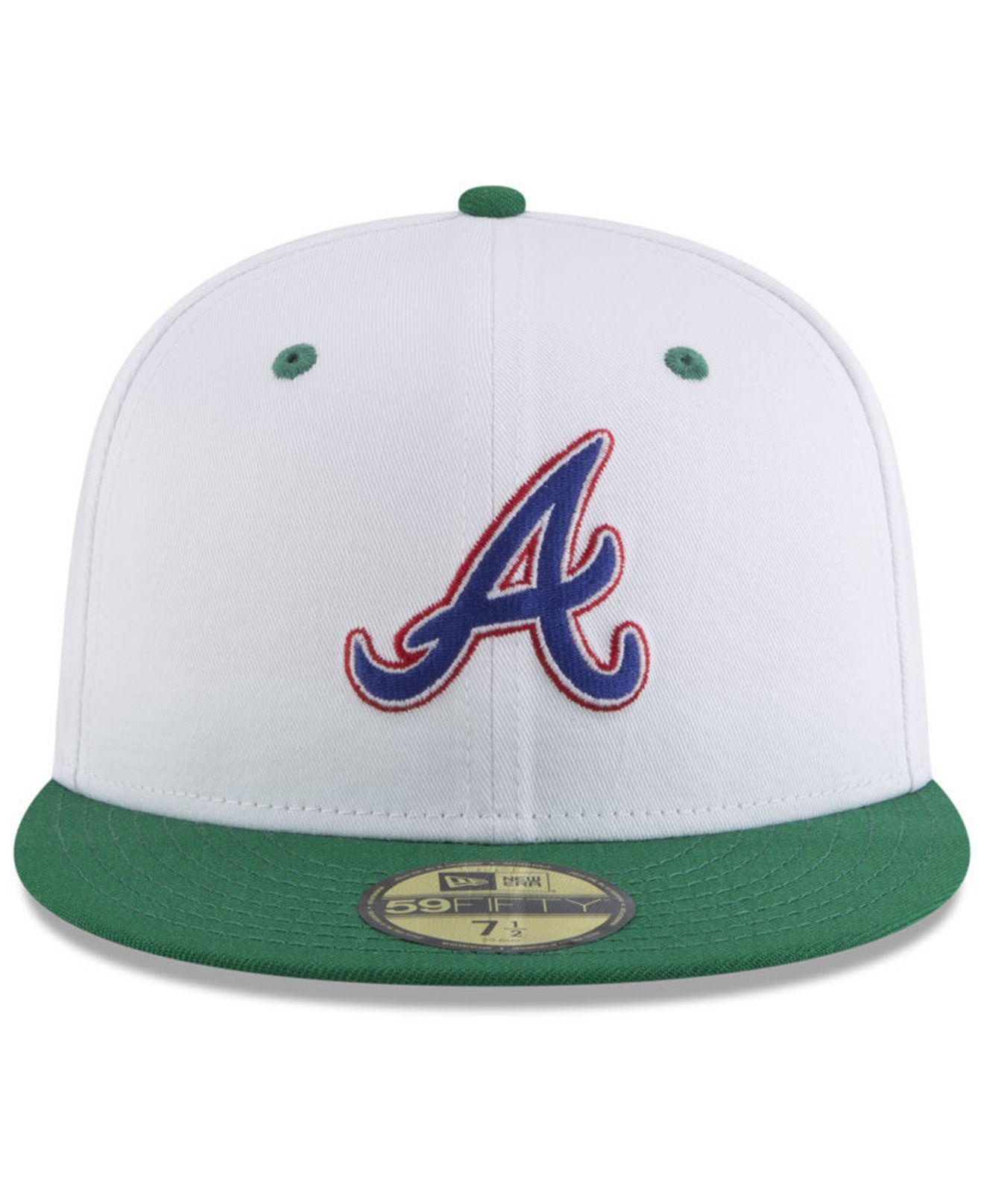 the best attitude 580e9 0b894 ... discount code for lyst ktz atlanta braves retro diamond 59fifty fitted  cap in white for men