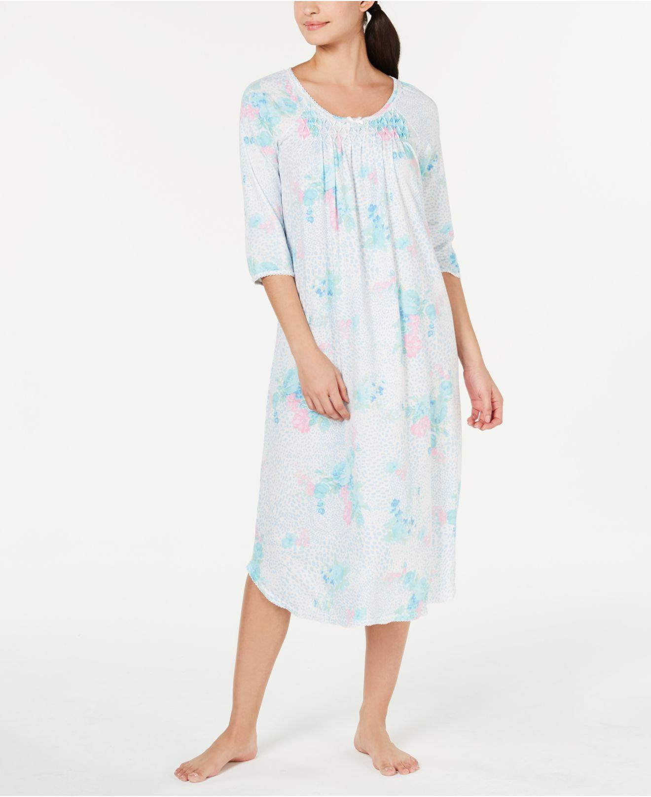 e5c02bb69 Lyst - Miss Elaine Printed Long Knit Nightgown in Blue