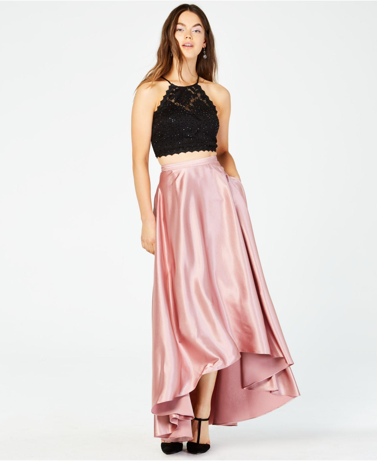 bf2adf5db369 Sequin Hearts Juniors' 2-pc. Lace Top & High-low Skirt in Pink - Lyst