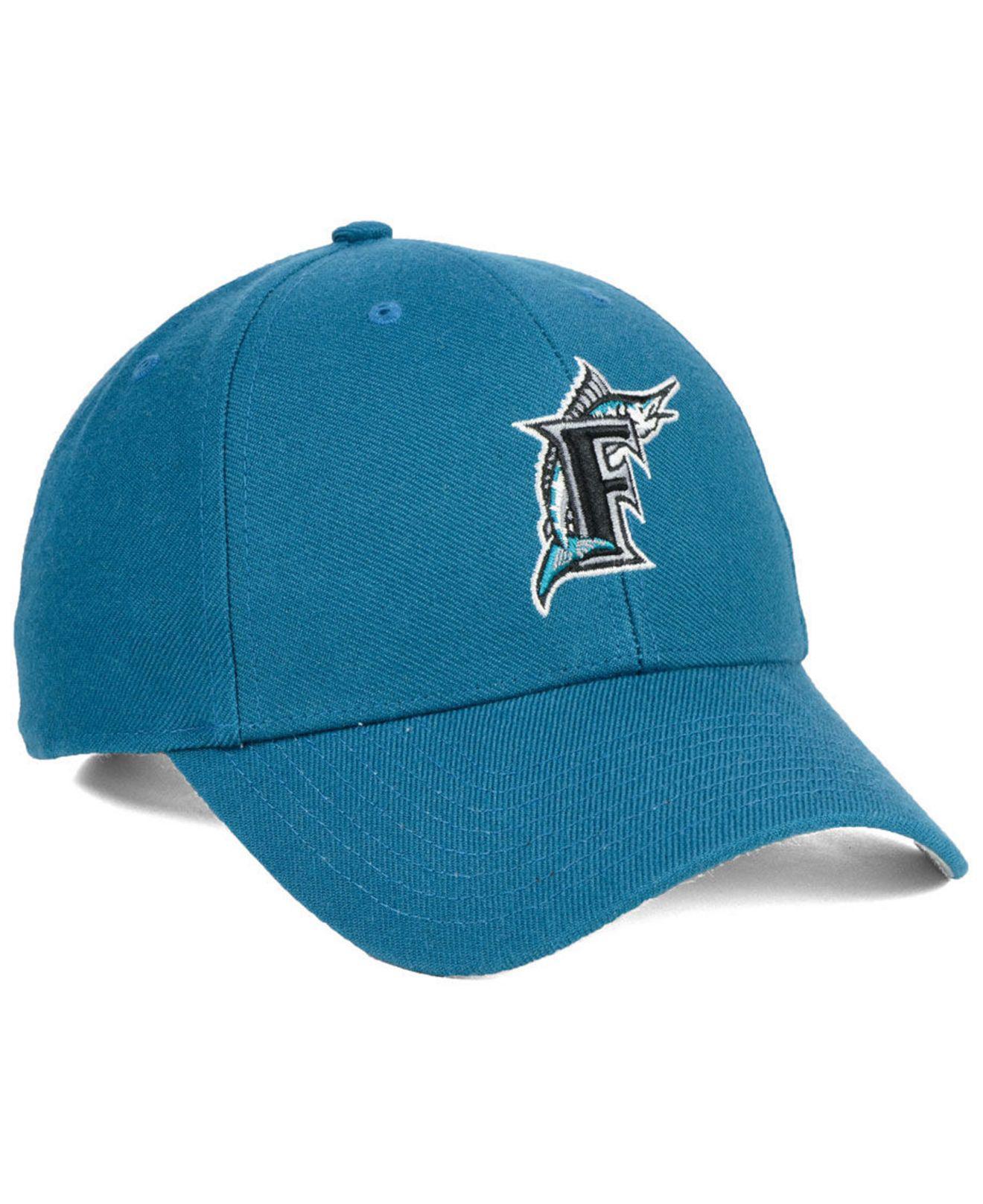 new concept 3c0b2 99518 47 Brand - Blue Miami Marlins Coop Mvp Strapback Cap for Men - Lyst. View  fullscreen