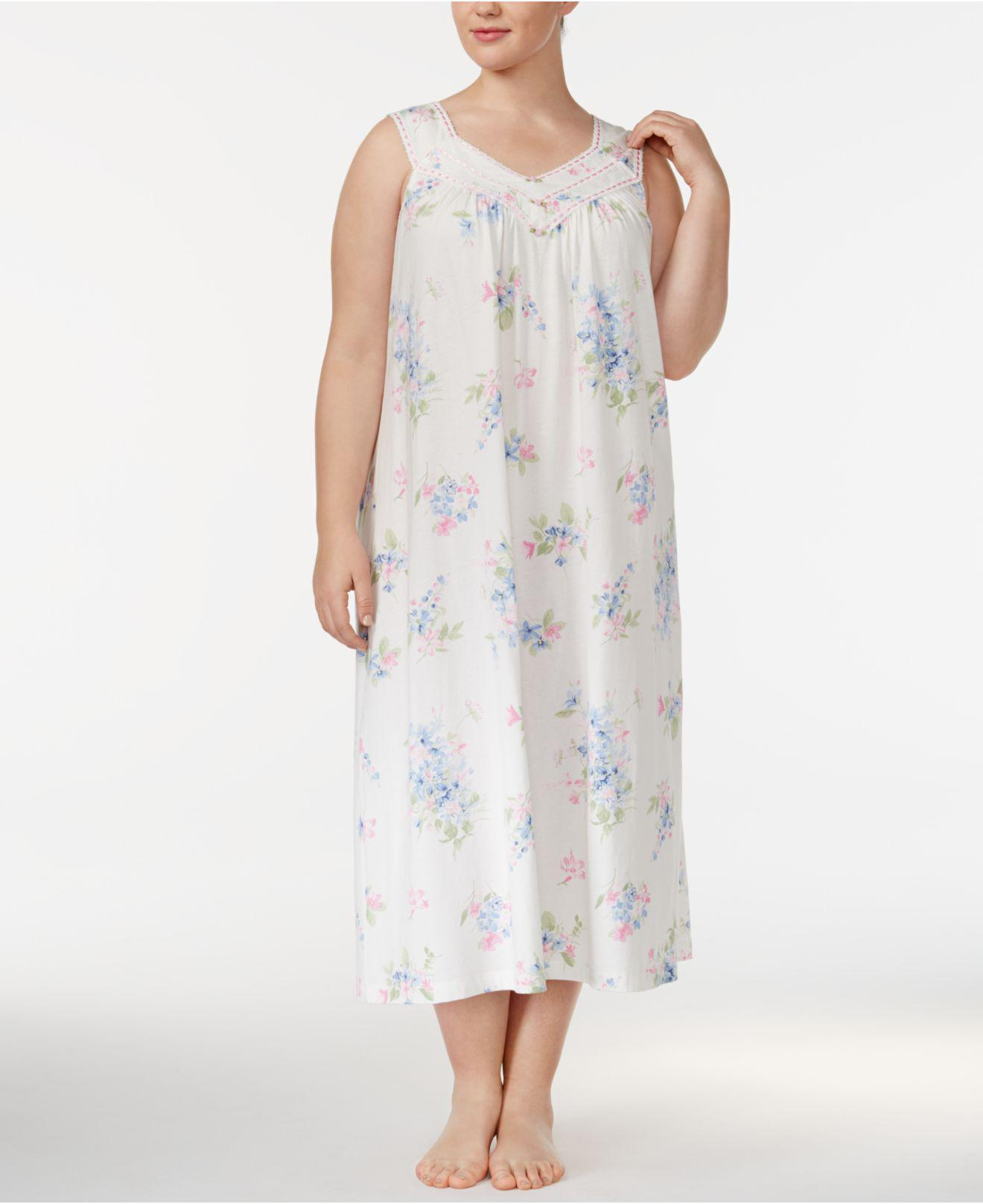 Lyst - Charter Club Plus Size Printed Cotton Knit Nightgown 3e1c457e7