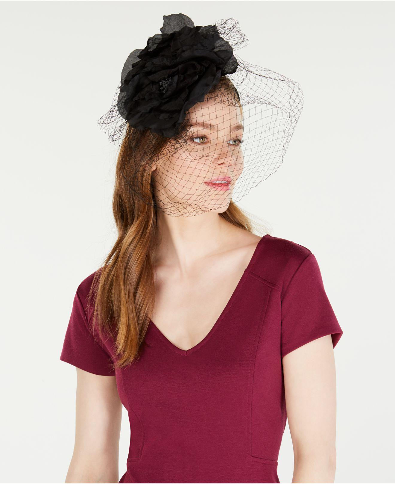 0248b9bf76d0d Lyst - August Accessories Flower Netting Fascinator in Black