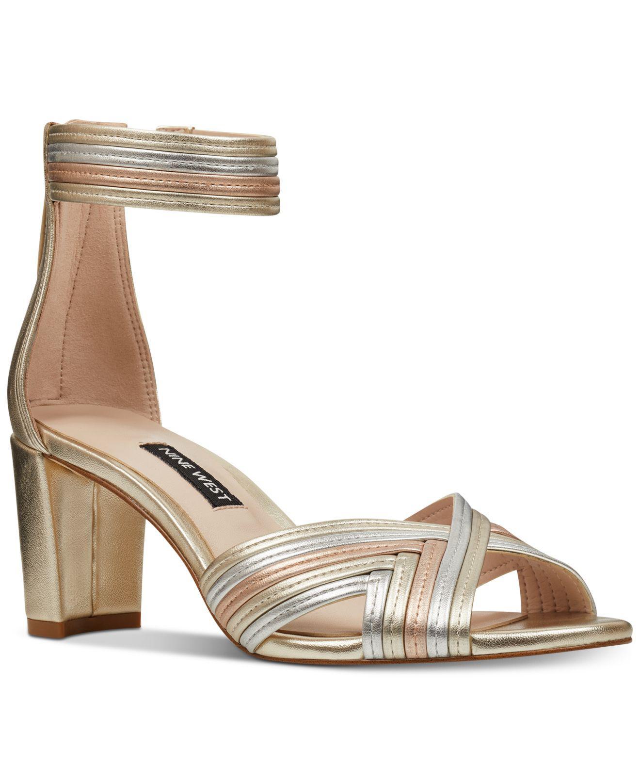 shop for genuine best supplier wholesale online Women's Metallic Pearl Woven Block-heel Sandals