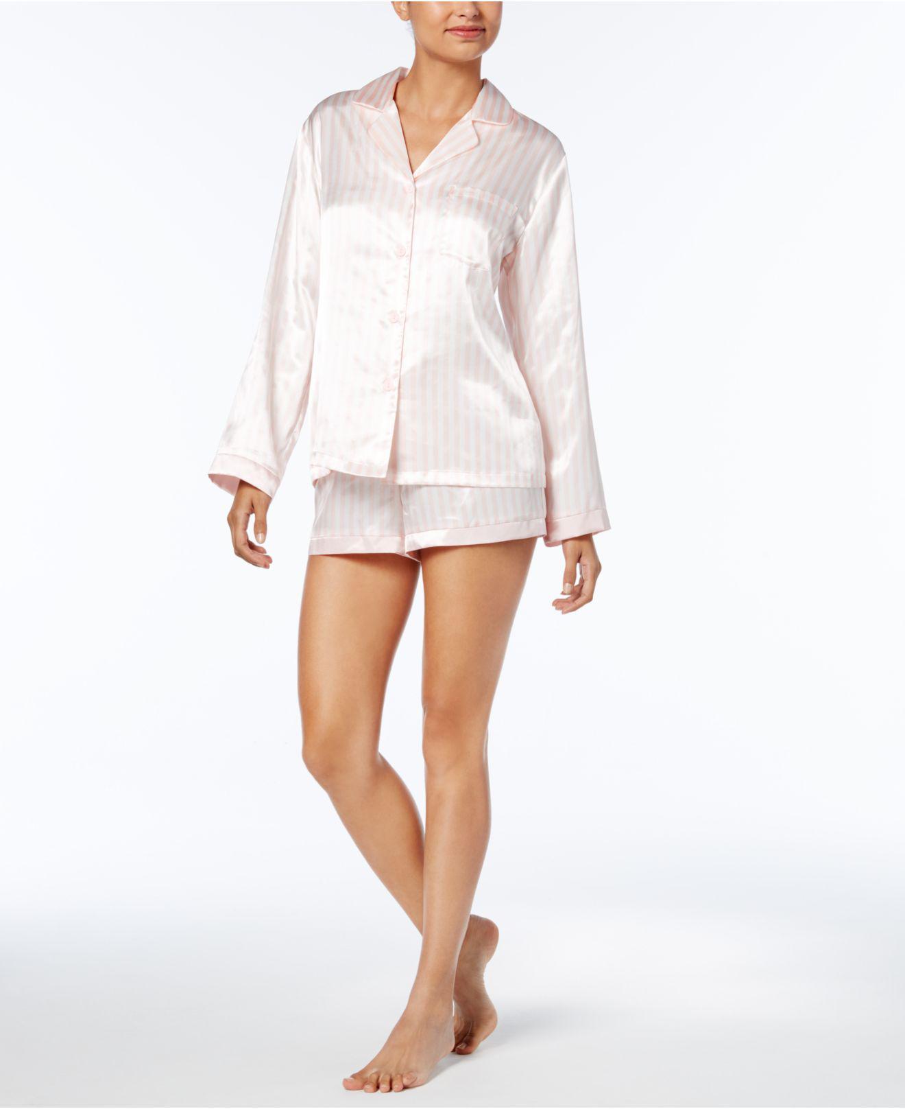 da1326ff72 Lyst - Linea Donatella Satin Pinstripe Pajama Set in White