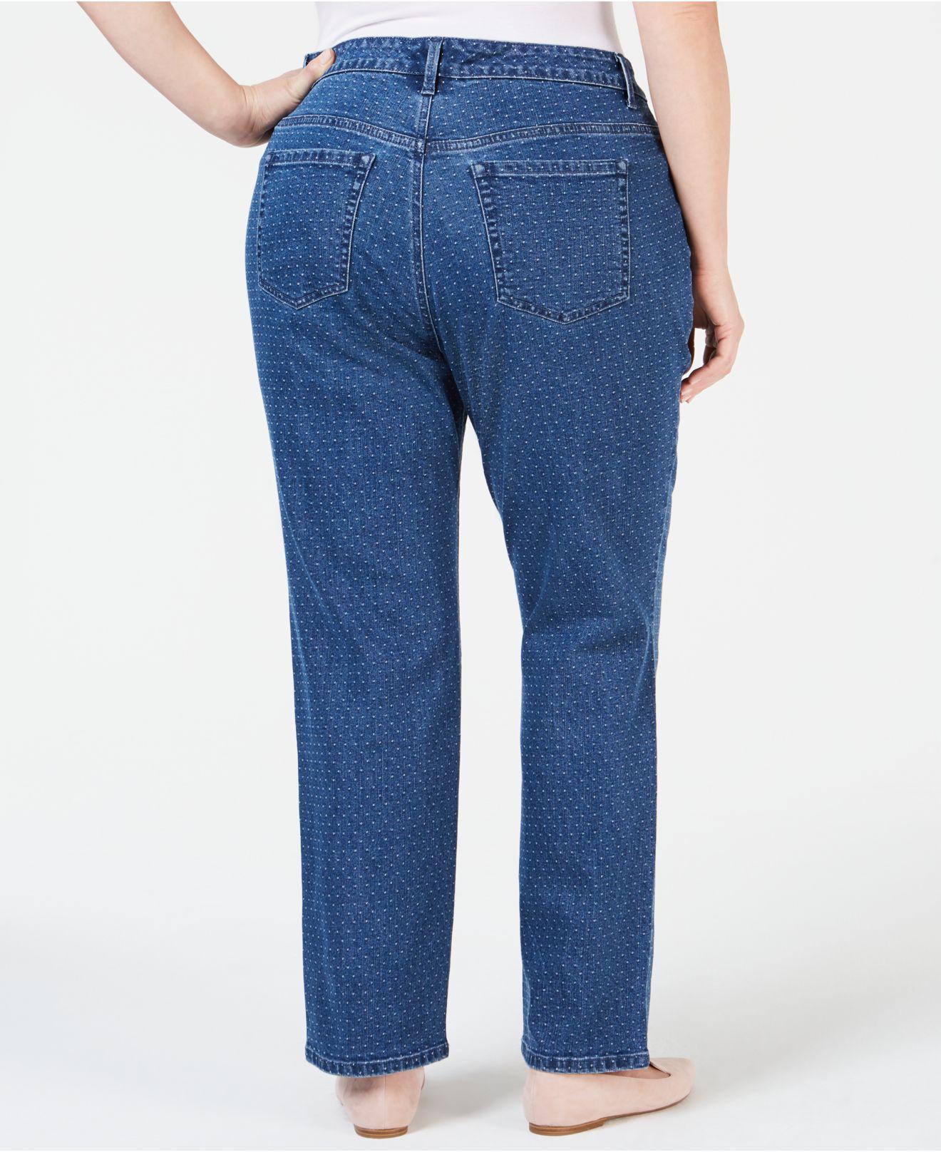 8329b4f52b6 Lyst - Charter Club Plus Size Dot-print Tummy-control Jeans