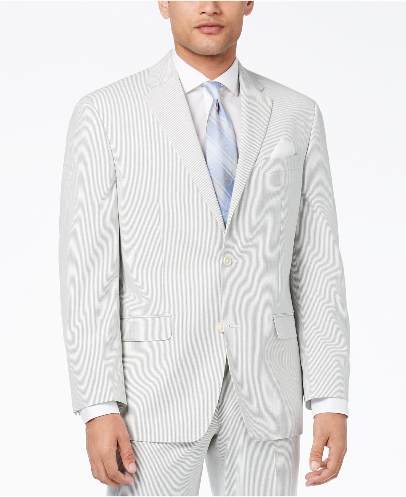 sean john classic fit stretch gray stripe seersucker suit jacket in gray for men lyst. Black Bedroom Furniture Sets. Home Design Ideas