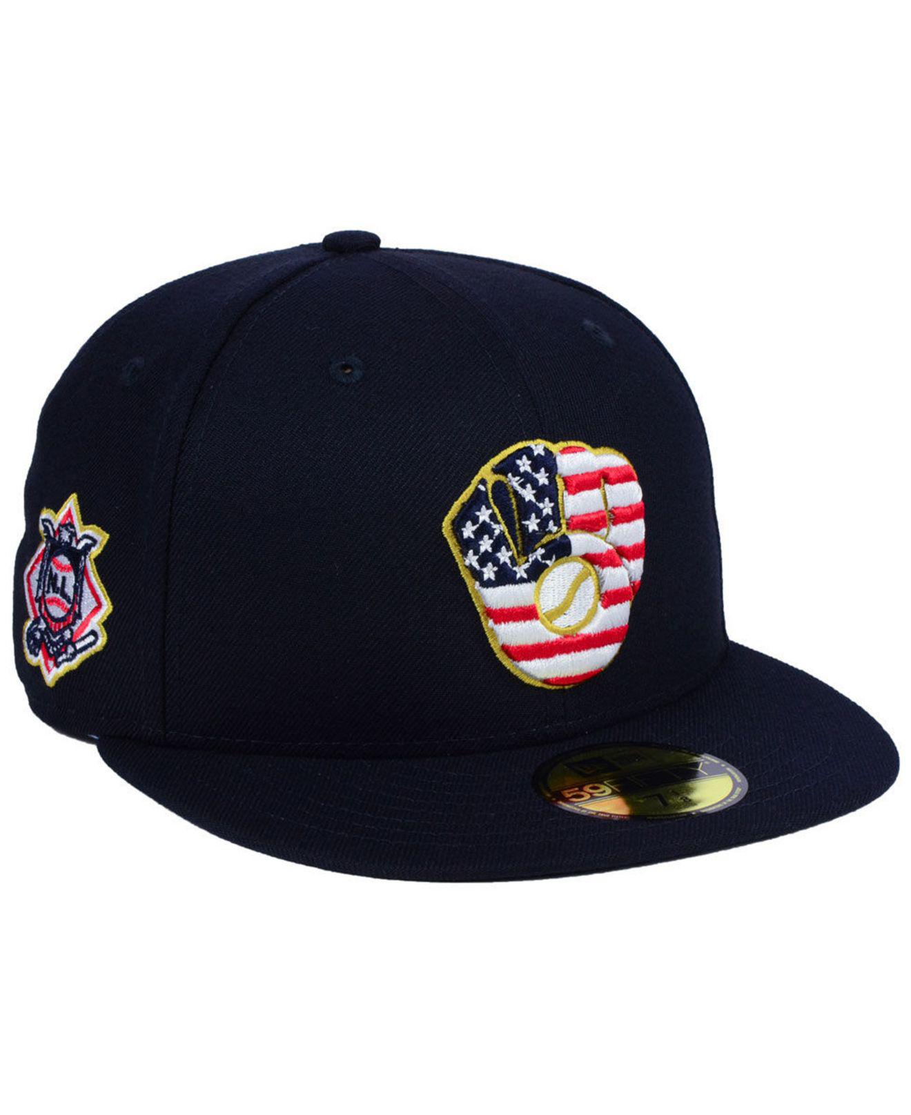 c04779dc21d Lyst - KTZ Milwaukee Brewers Stars And Stripes 59fifty Fitted Cap in ...