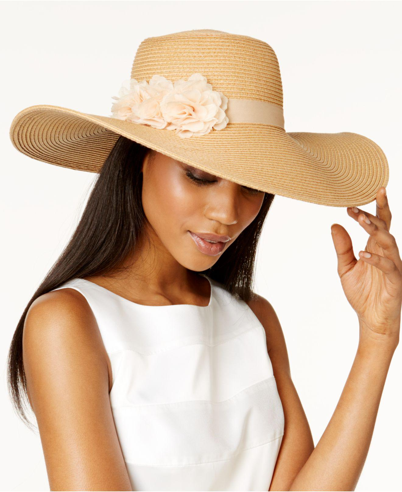 a196382fba25a Lyst - August Accessories Fantasy Floral Floppy Hat in Natural