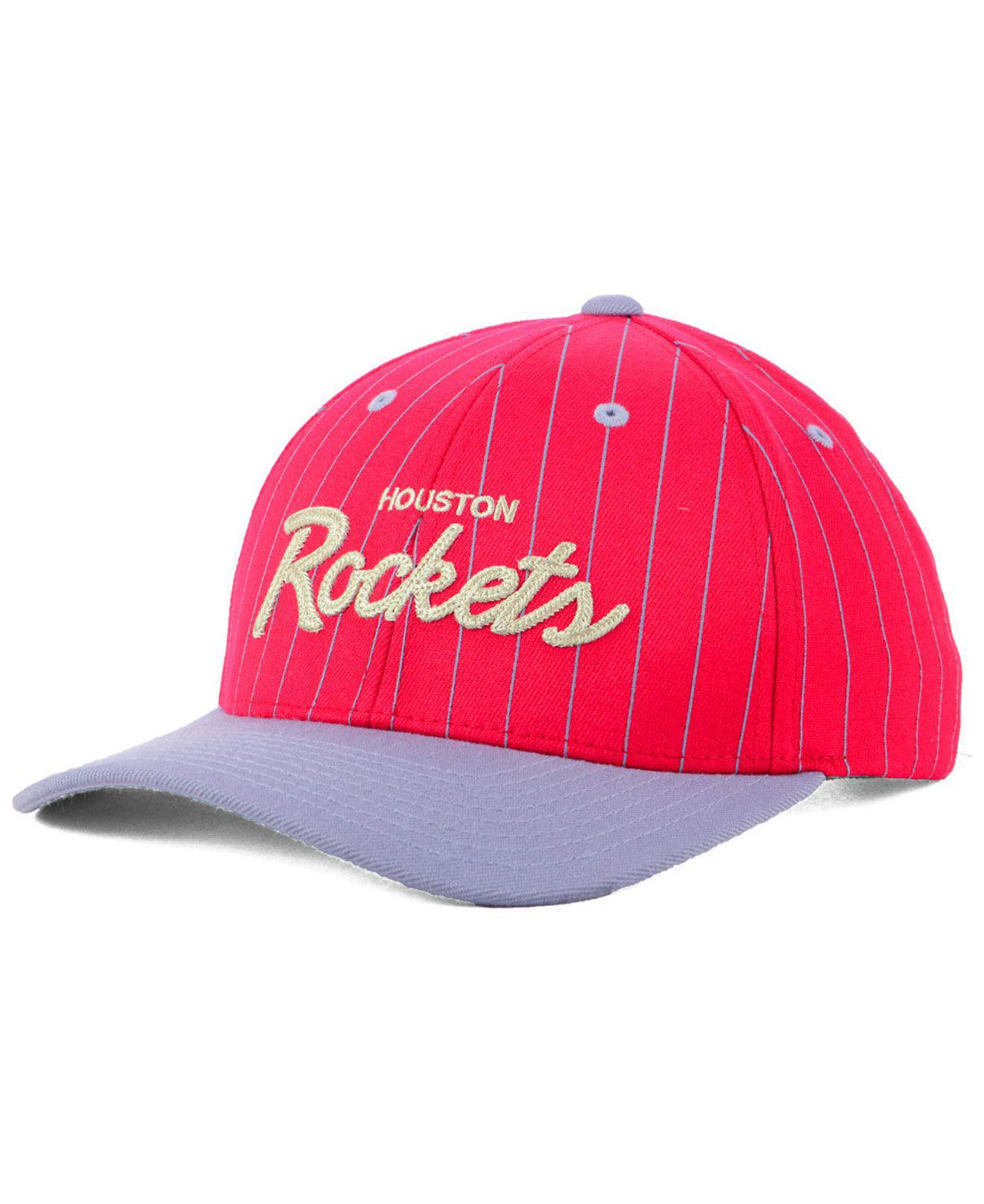info for e780c e7efc Mitchell   Ness. Men s Red Houston Rockets Pinstripe Snapback Cap