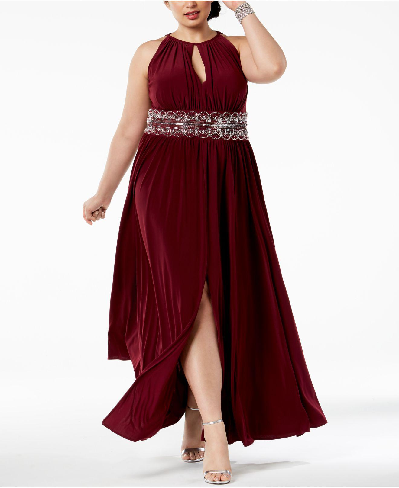 8228aef2a32 R   M Richards R m Richards Plus Size Sleeveless Beaded Gown in Red ...