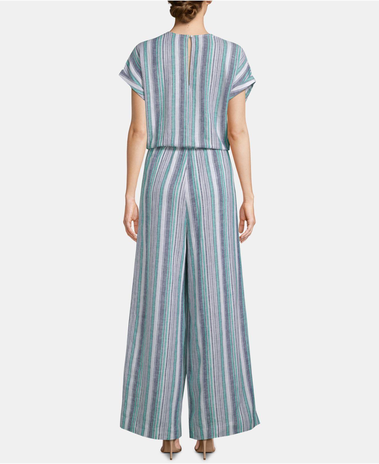 d84d0ff8a8df Lyst - Eci Striped Surplice Kimono Jumpsuit in Blue