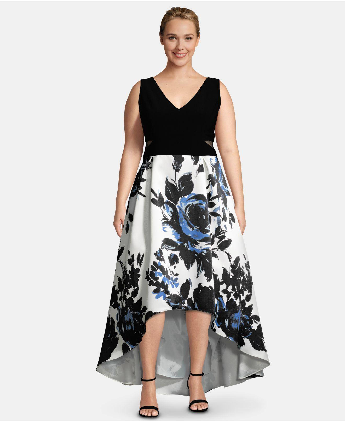 5e7423b7 Lyst - Xscape Plus Size High-low Printed-skirt Gown in Black