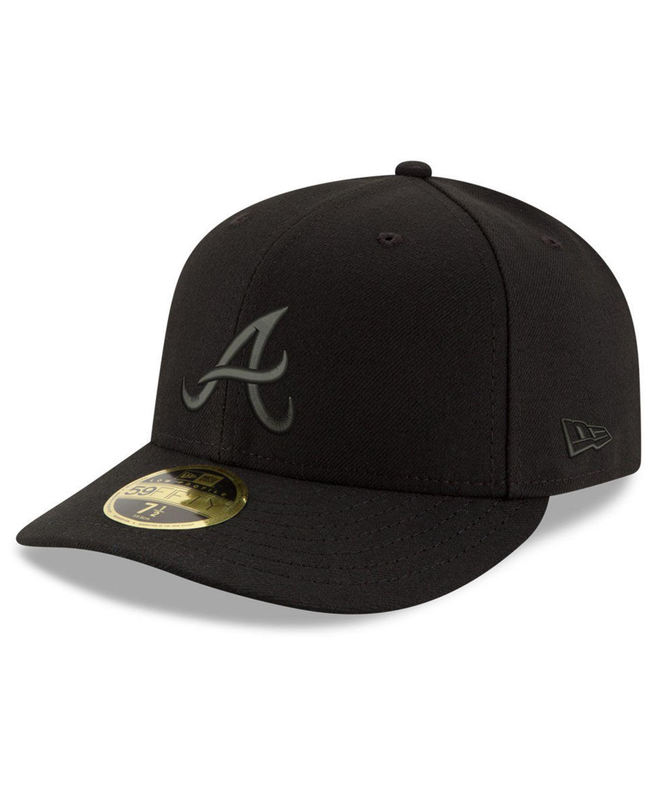 outlet store 893fc afb6c KTZ - Atlanta Braves Triple Black Low Profile 59fifty Fitted Cap for Men -  Lyst. View fullscreen