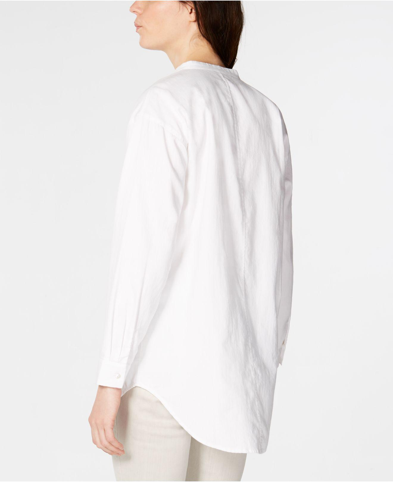 522b8247891 Lyst - Eileen Fisher Mandarin Collar Organic Cotton Twill Shirt in White