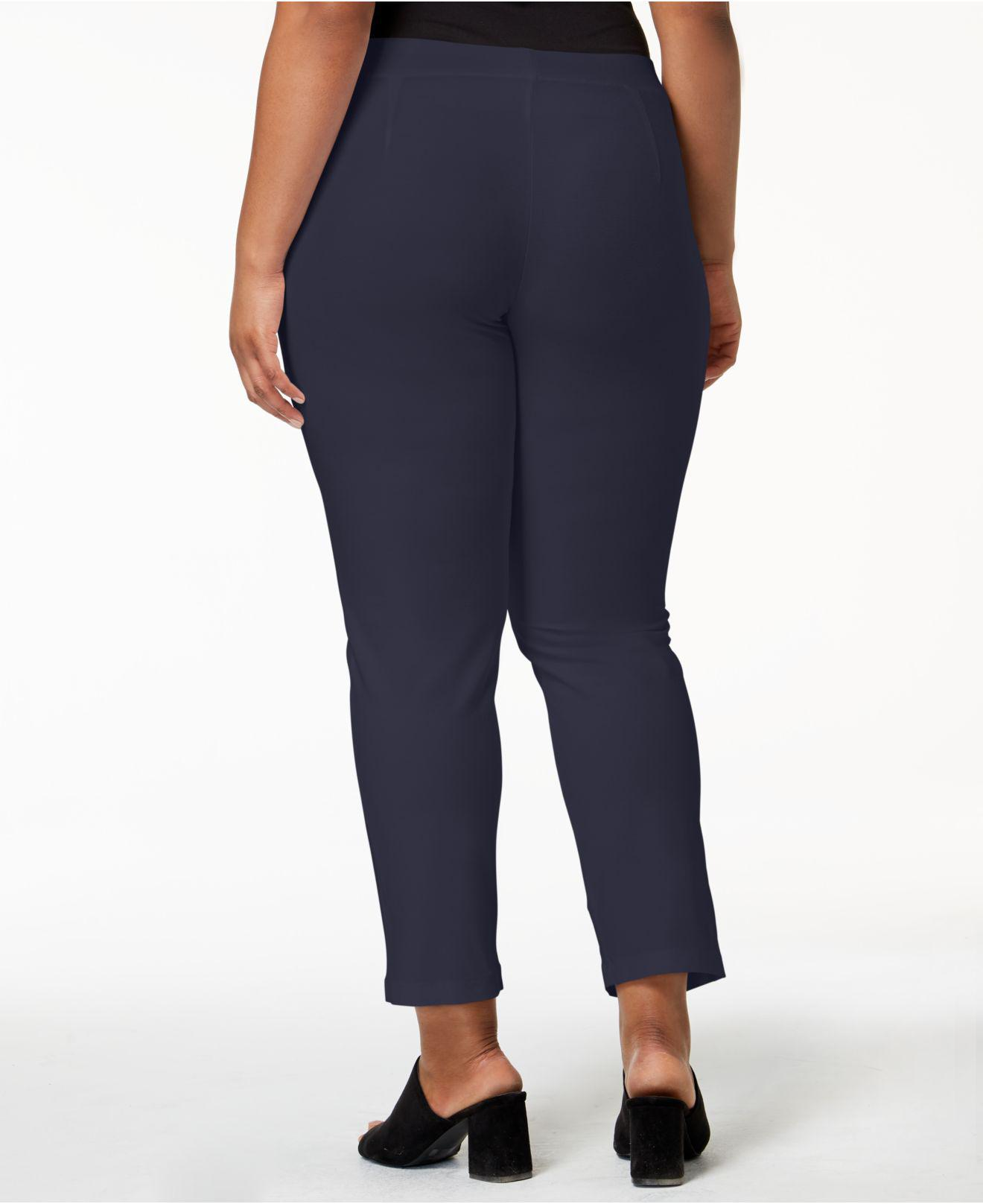 054f8e0a9ef Lyst - Eileen Fisher Plus Size System Washable Crepe Slim-leg Ankle Pants  in Blue