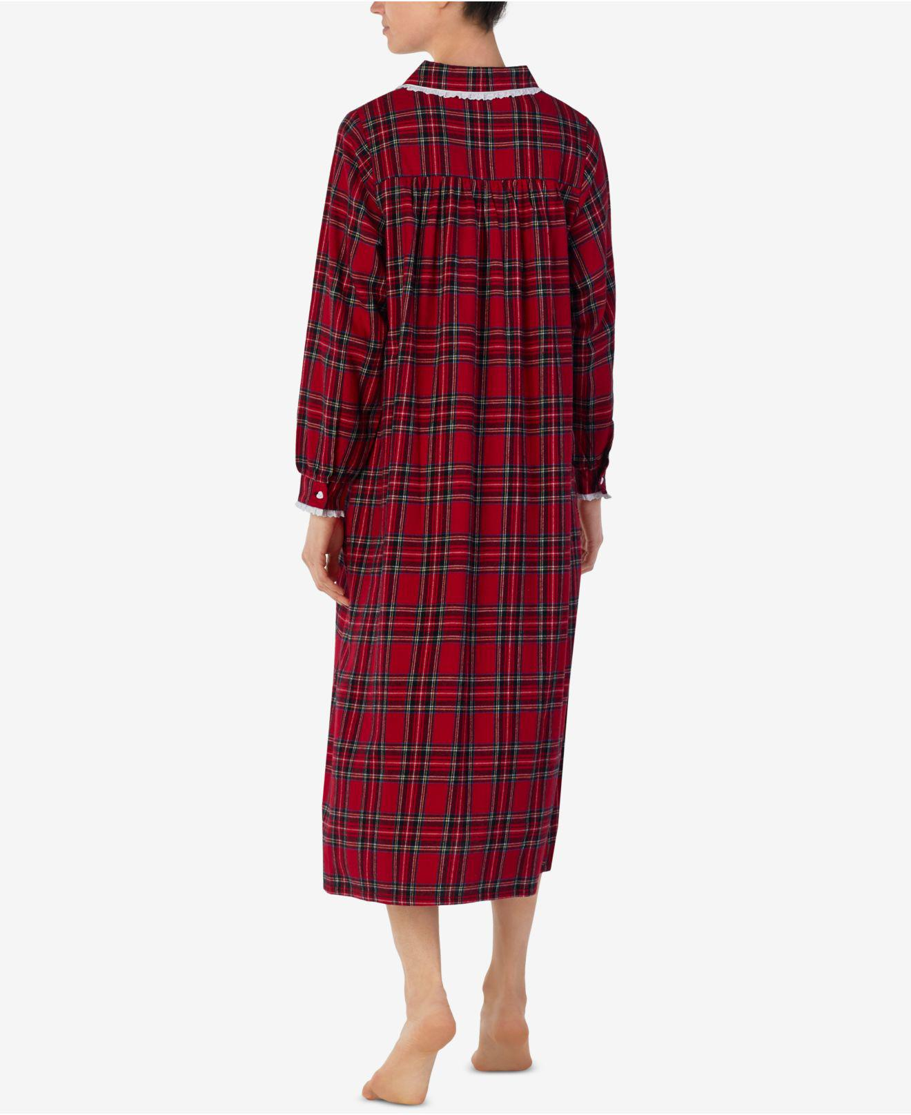 f75321a3e8 Lyst - Lanz of Salzburg Printed Cotton Flannel Nightgown in Red - Save 6%