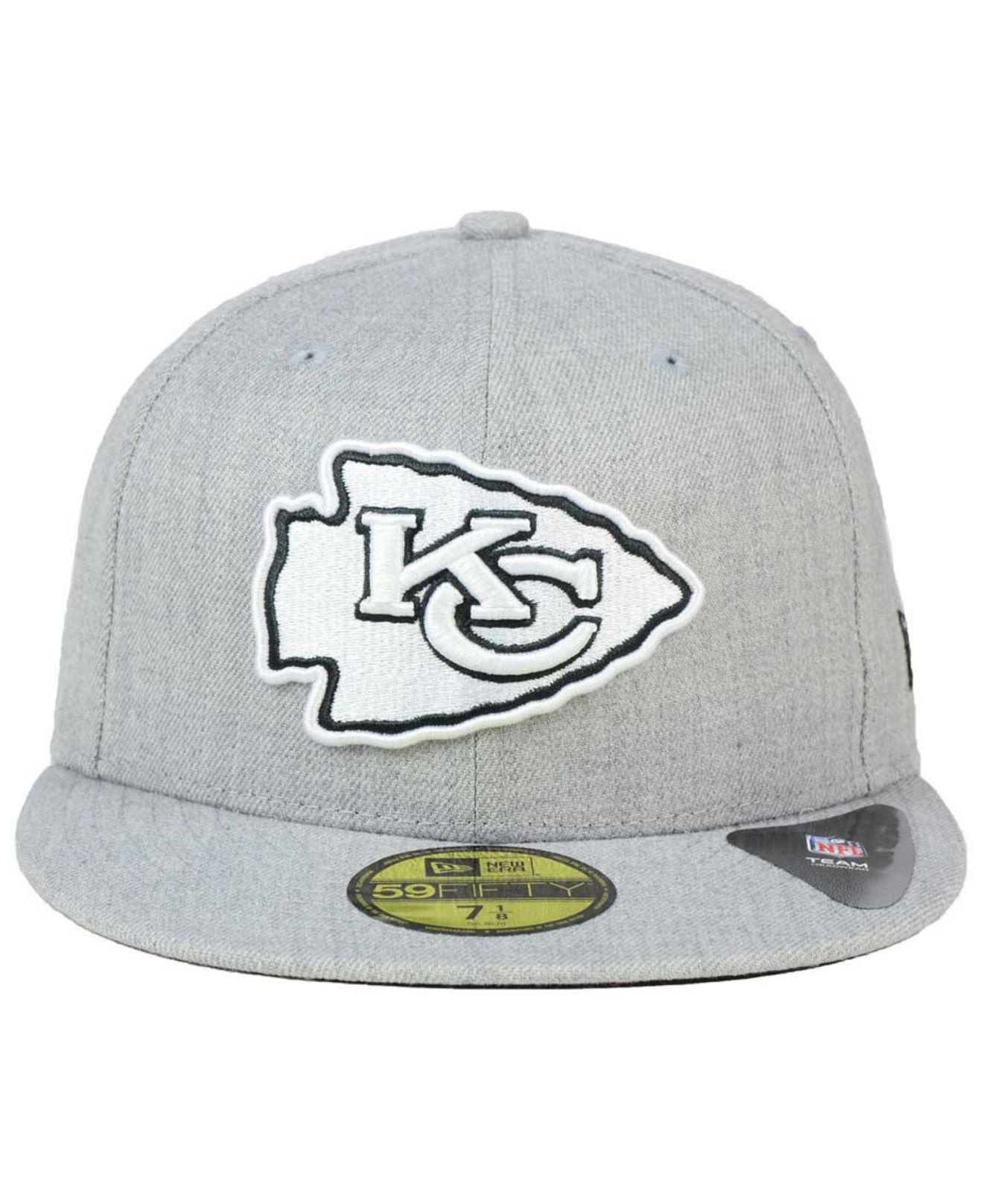 d85a64e1ef7 Lyst - KTZ Kansas City Chiefs Heather Black White 59fifty Cap in Gray for  Men