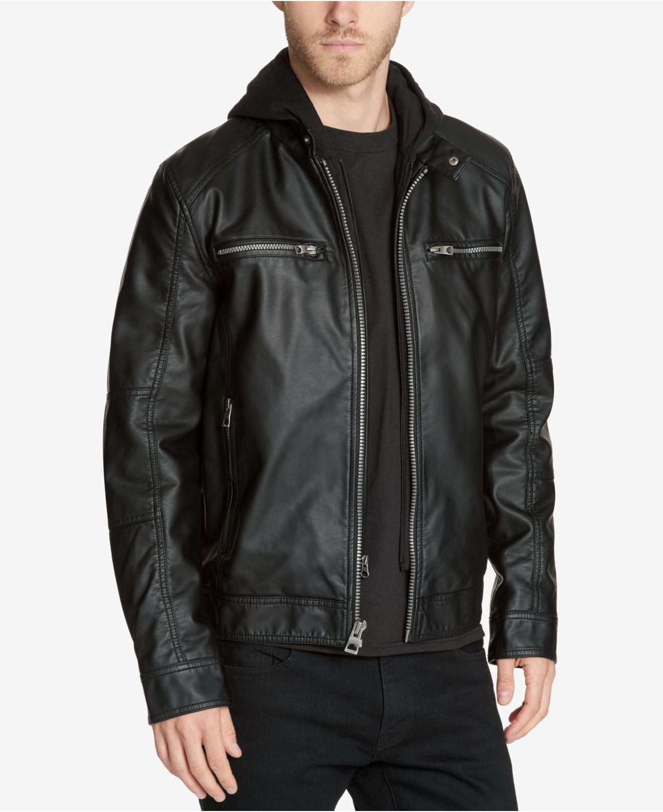 Lyst - Guess Men s Faux-leather Detachable-hood Motorcycle Jacket in Black  for Men 405a232396b7