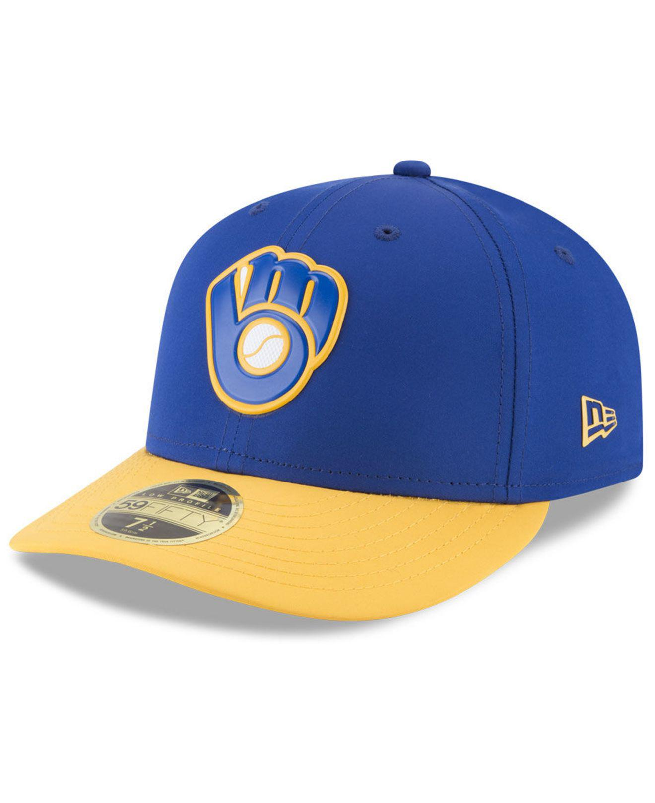 huge discount 0aeca fdd6e uk milwaukee brewers new era mlb low profile turn back the clock 59fifty cap  0d86c ed17f  get ktz. mens blue milwaukee brewers low profile batting  practice ...