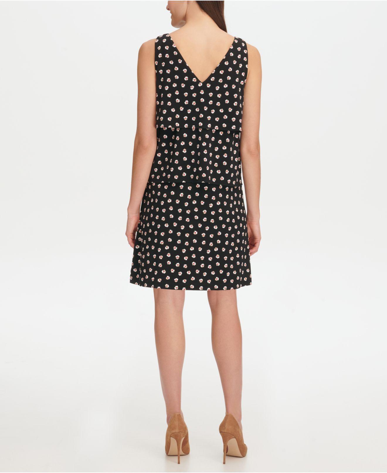 88e84f75aa7 Lyst - Tommy Hilfiger Floral Jersey Tier A-line Dress in Black