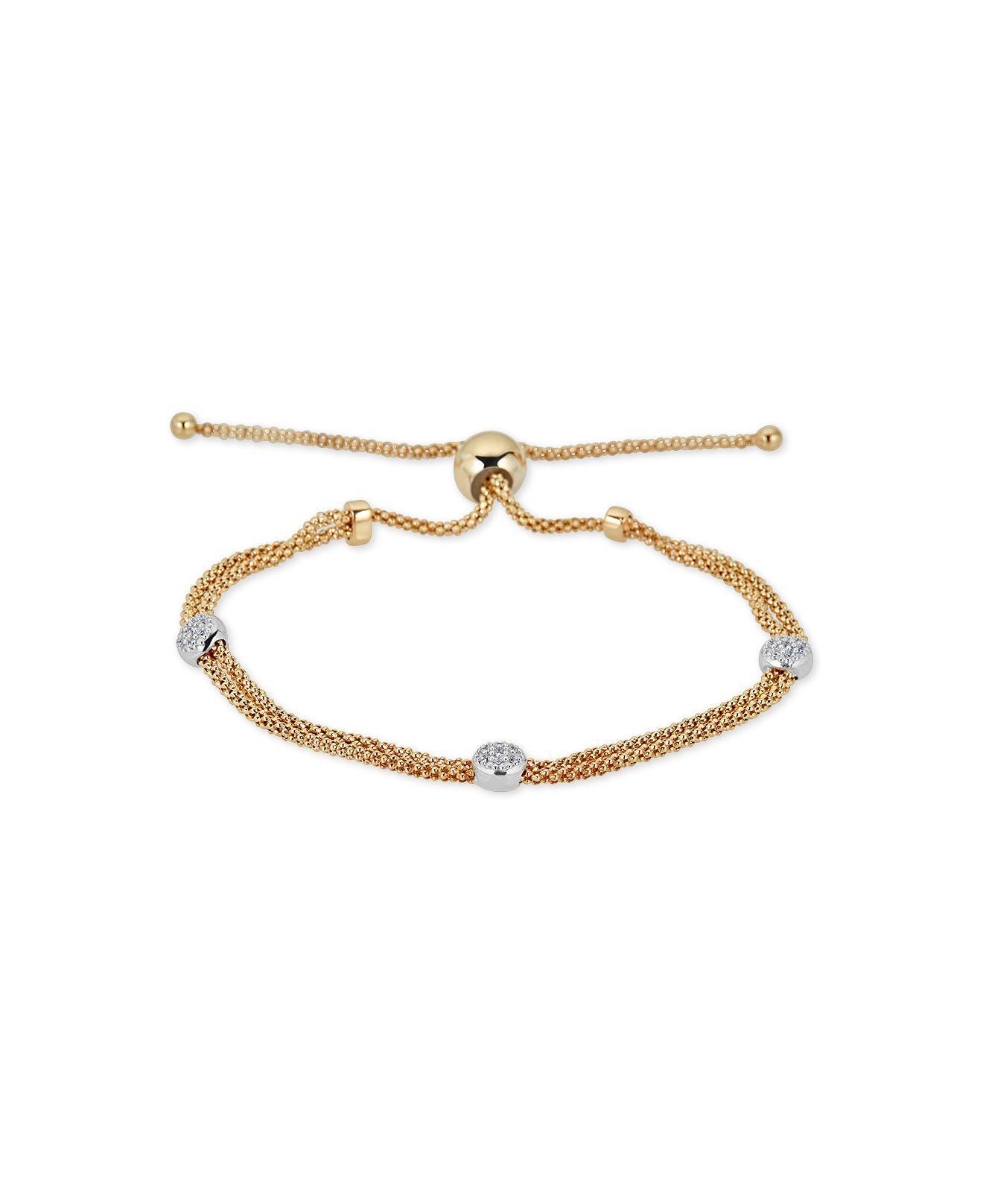 4e9f21530b8 Lyst - Macy'S Diamond Beaded Bolo Bracelet (1/6 Ct. T.w.) In ...