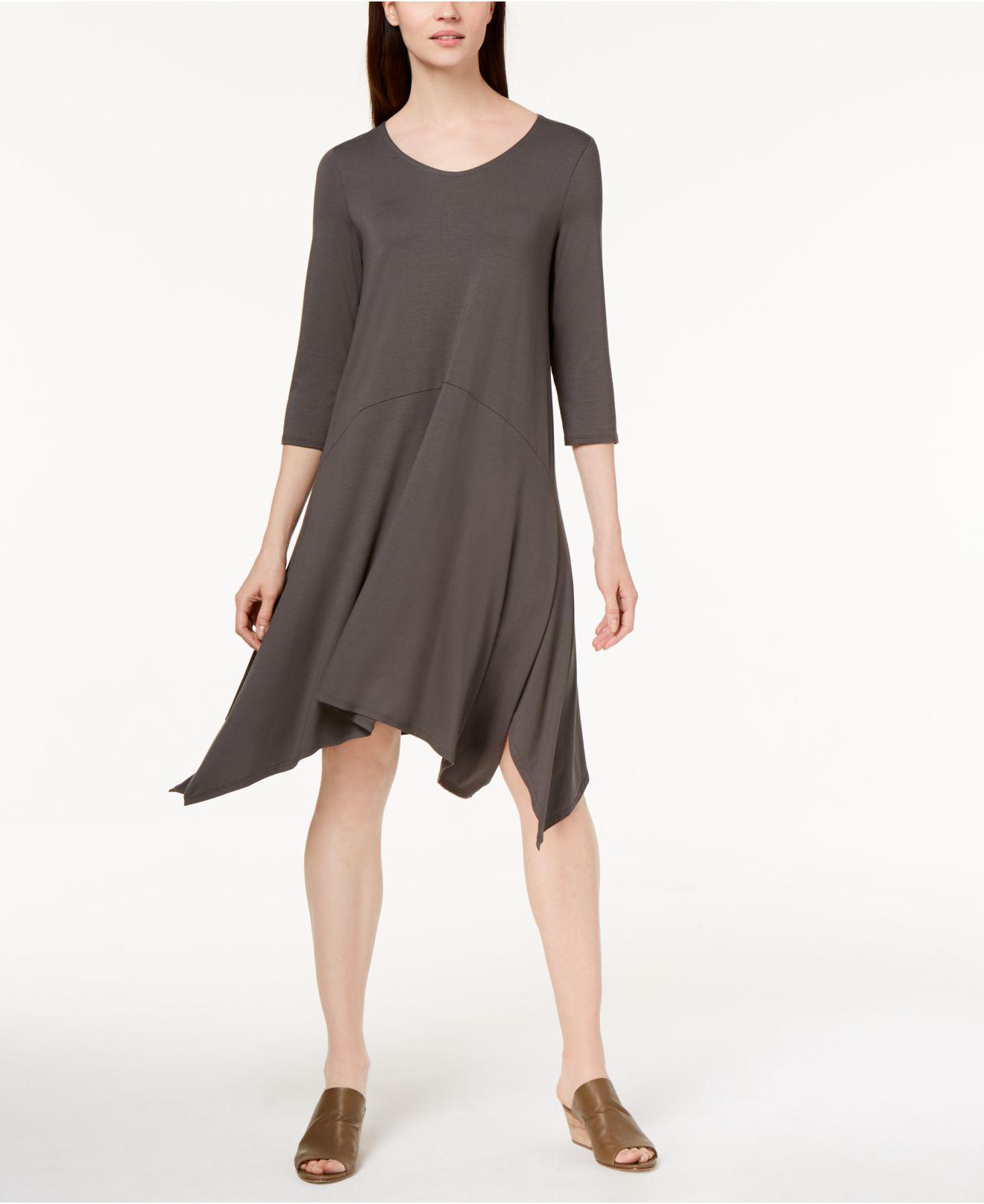 b04afaaa36a Lyst - Eileen Fisher Organic Cotton Handkerchief-hem Dress