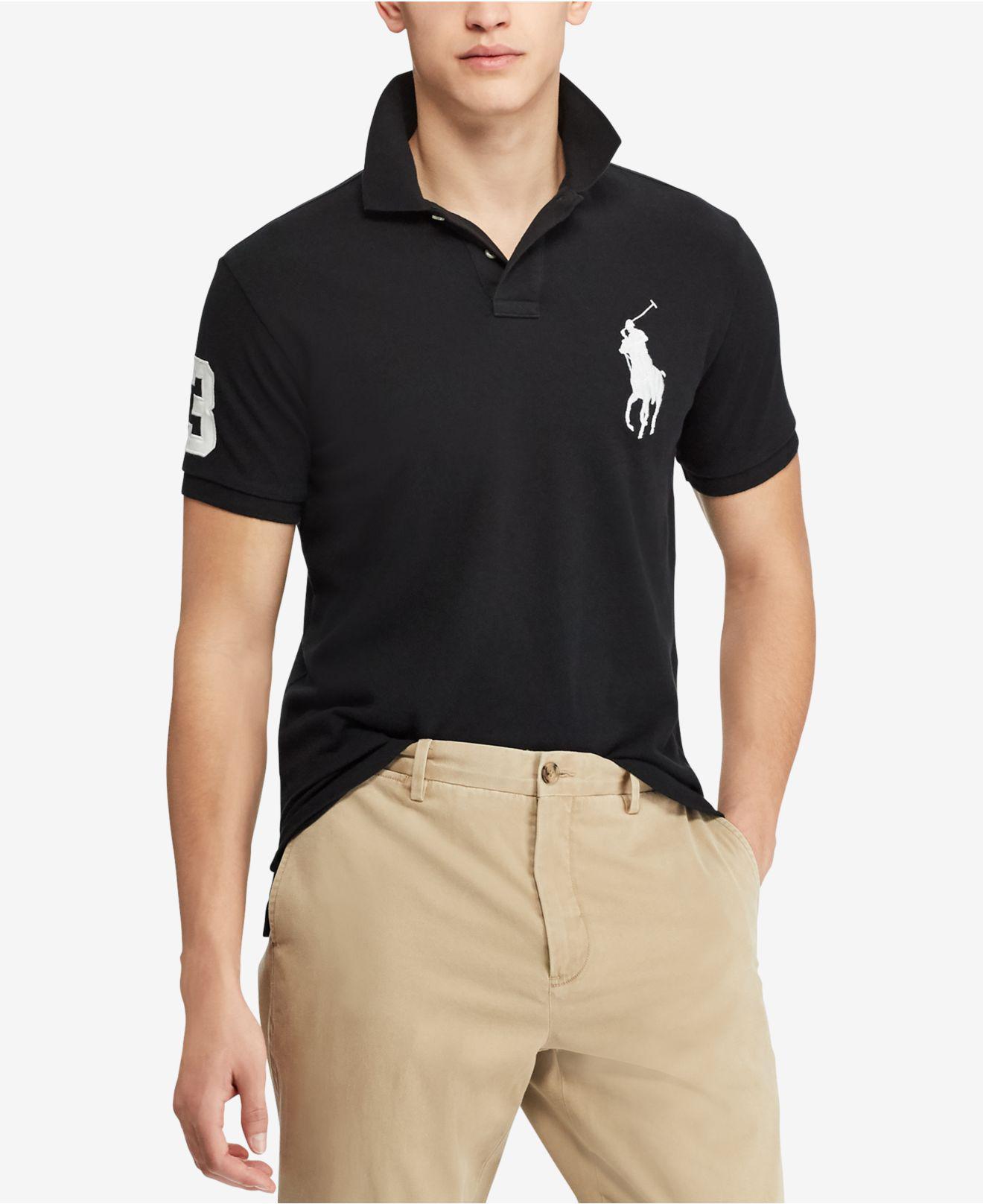 46fd3fb0 Lyst - Polo Ralph Lauren Custom Slim Fit Polo Shirt in Black for Men ...