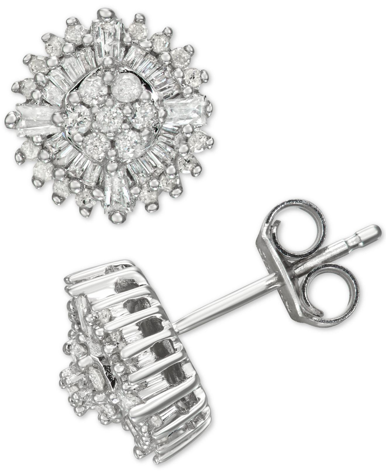 6ffed5ced Macy's Diamond Burst Stud Earrings (1/2 Ct. T.w.) In Sterling Silver ...
