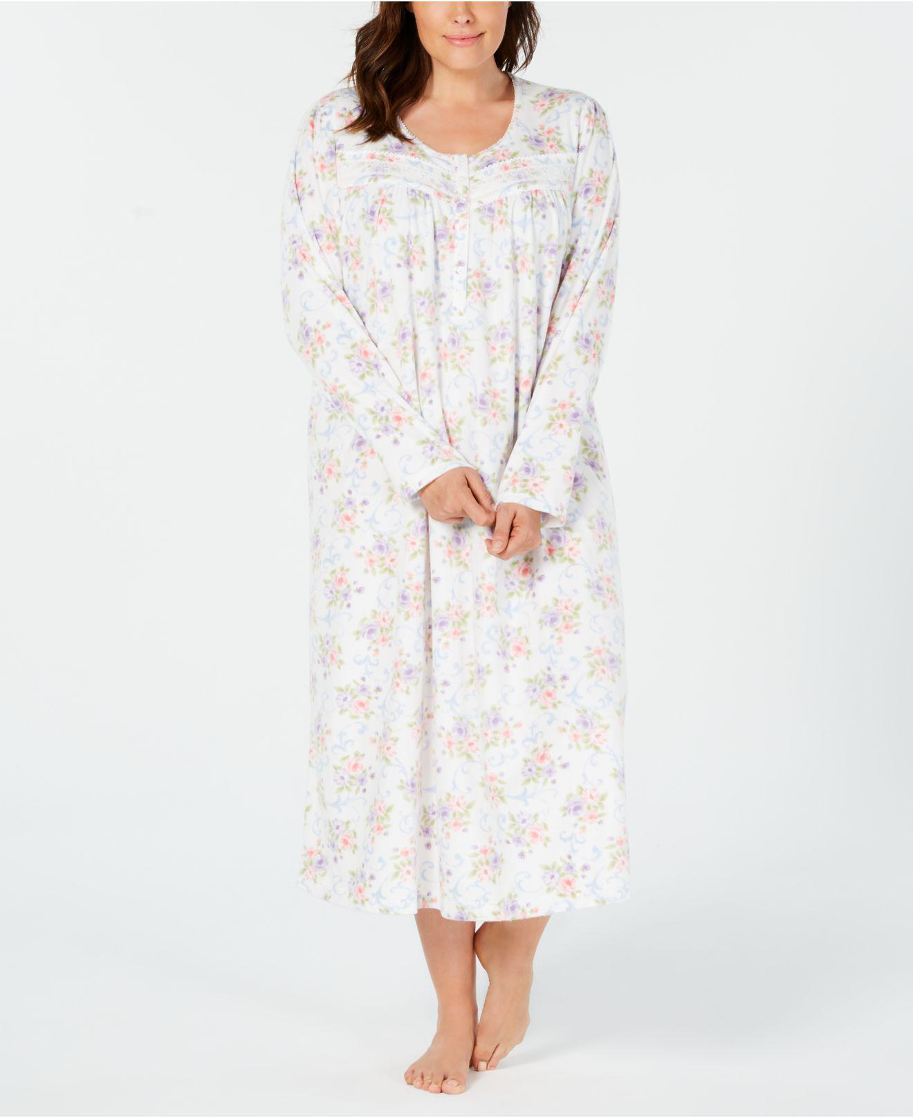 d56a53bac31 Lyst - Charter Club Plus Size Printed Fleece Nightgown