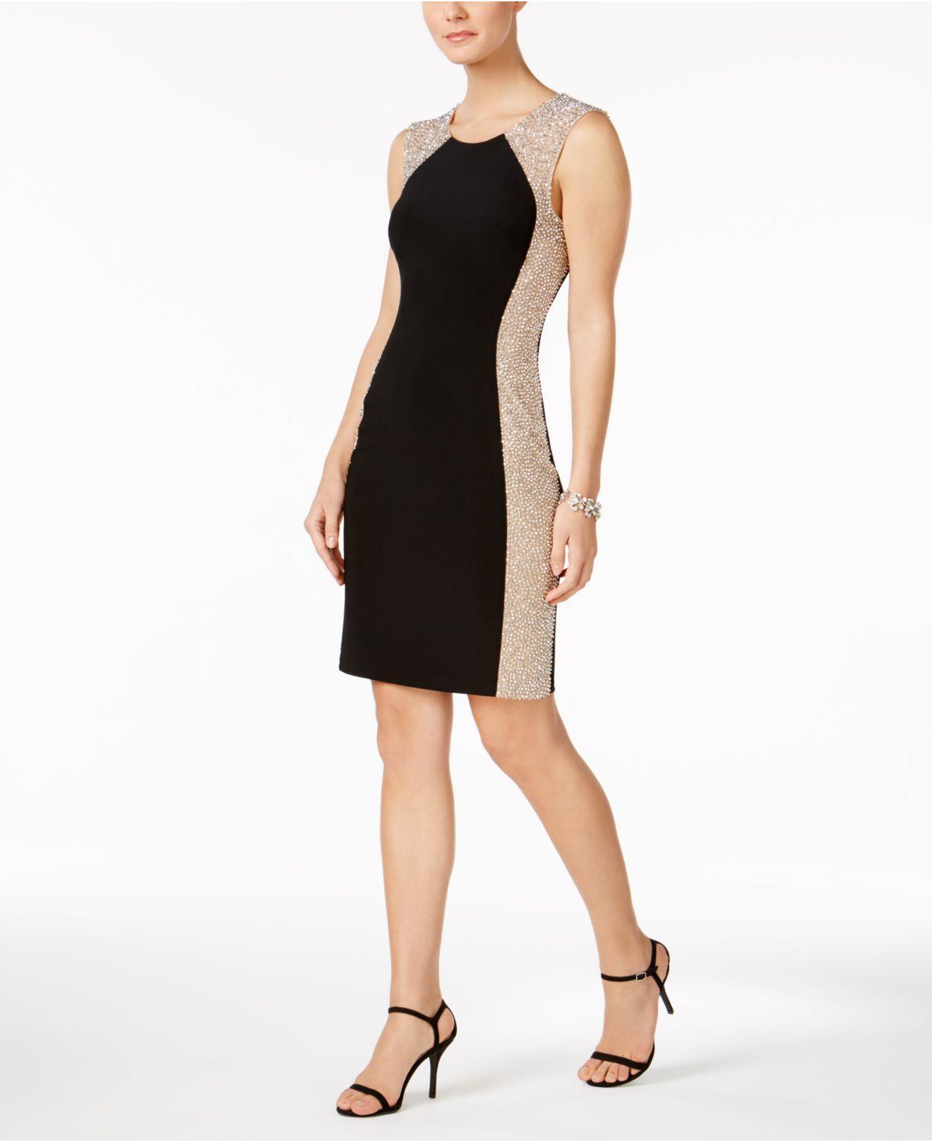 305621d6abbc Xscape Petite Beaded Bodycon Dress in Black - Lyst
