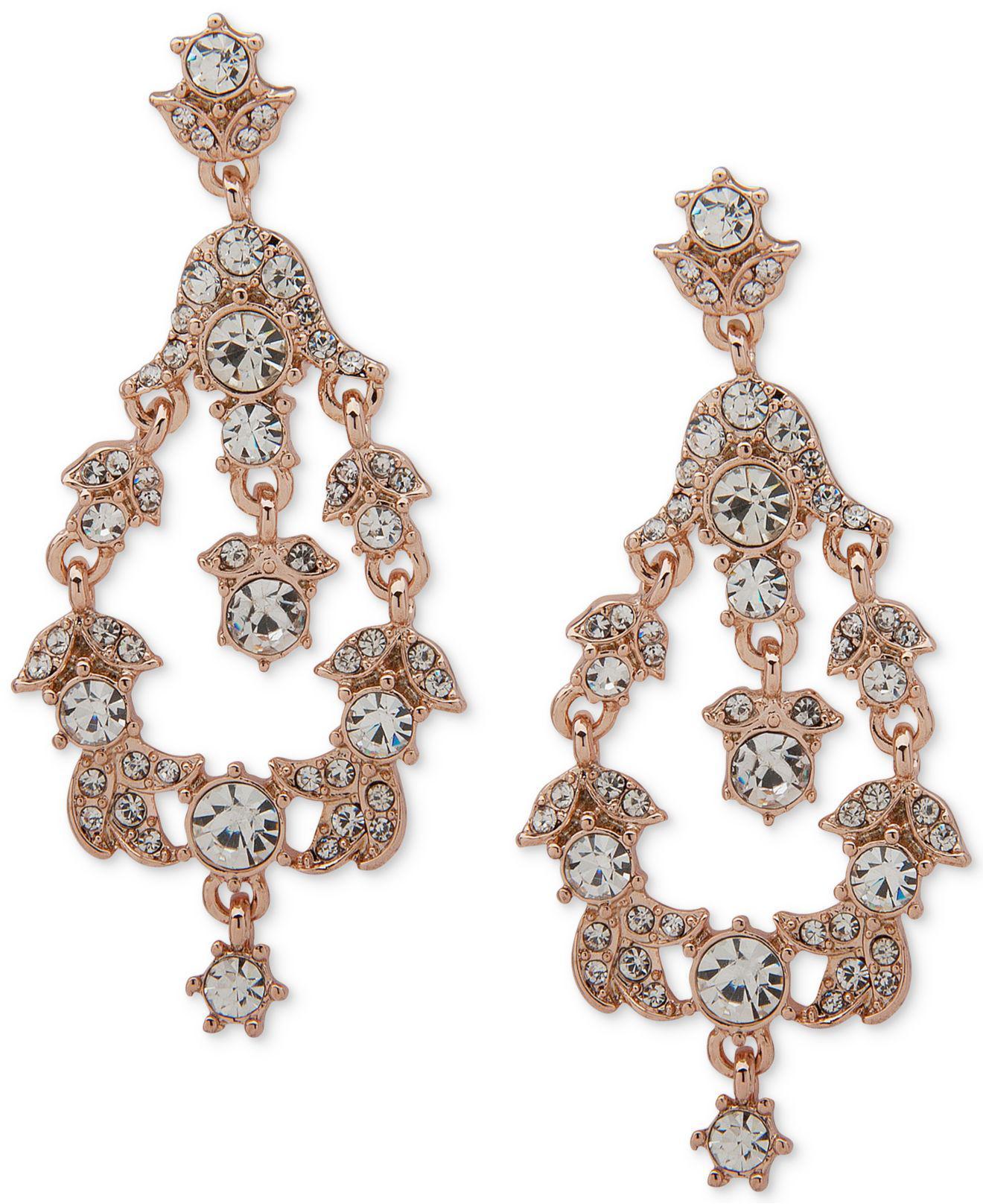 Anne Klein Women S Metallic Crystal Orbital Clip On Drop Earrings