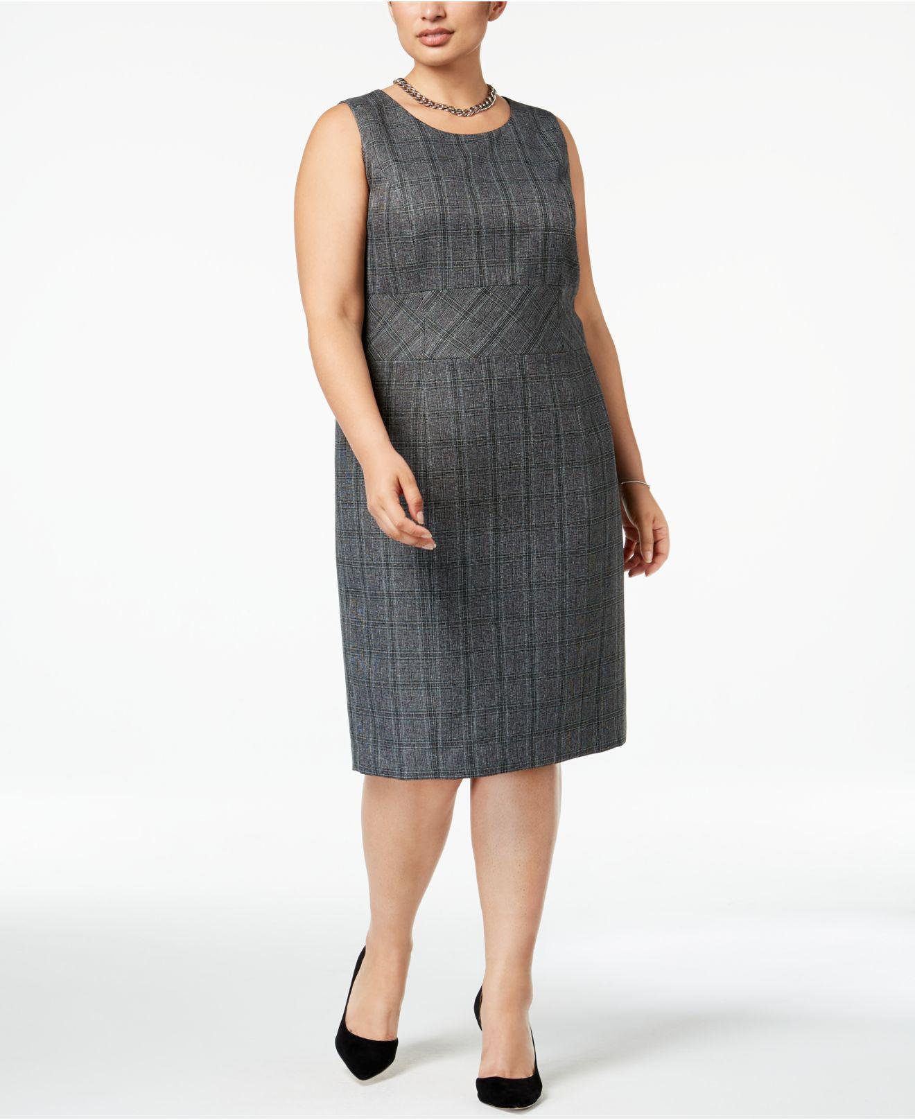 bb379c5406b Lyst - Kasper Plus Size Plaid Sheath Dress in Black