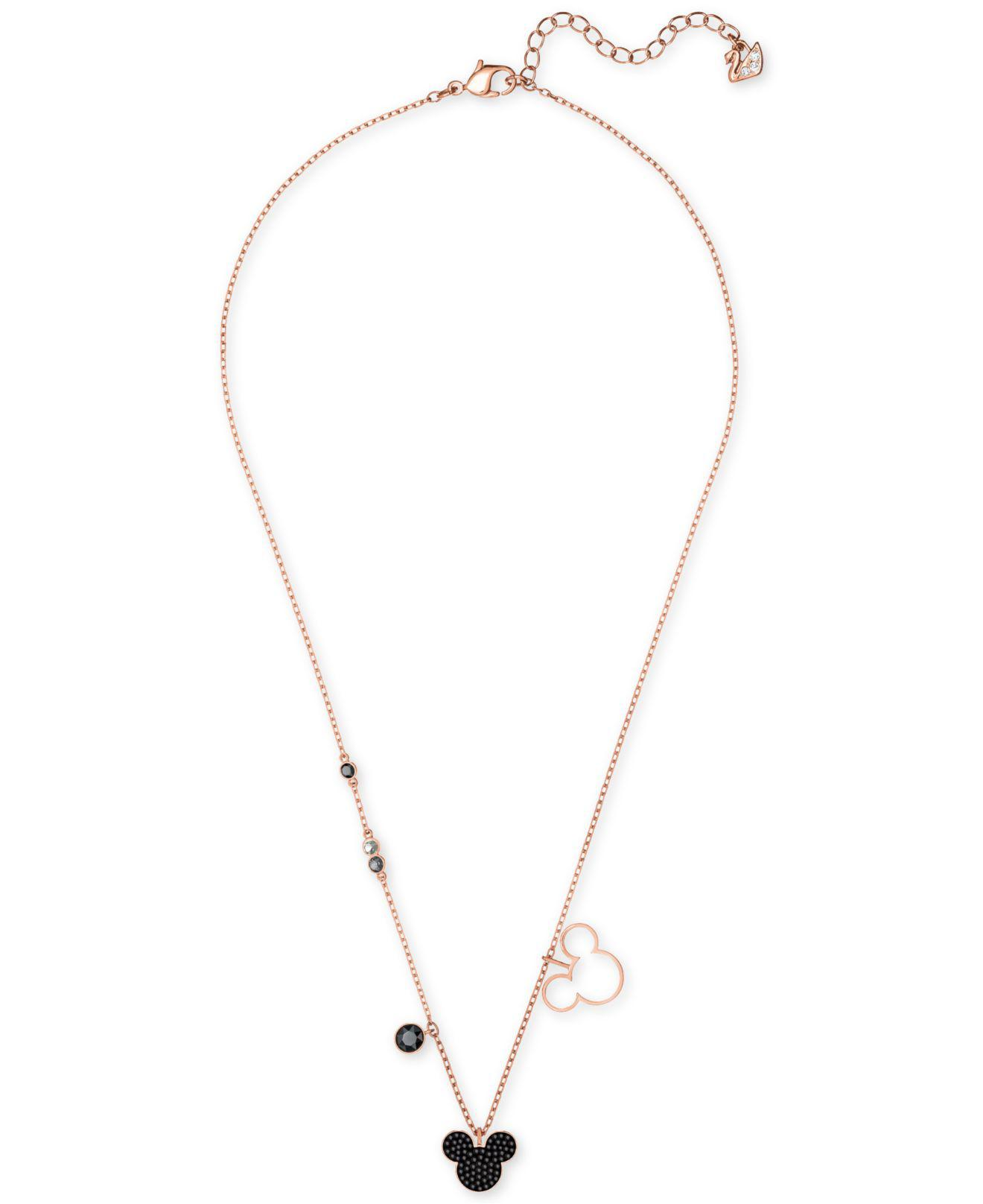 cdbbe200bbe9 Lyst Swarovski Rose Gold Tone Crystal Stone Mickey Mouse 16 1 2. Mickey  Mouse Infinity Loop Necklace ...