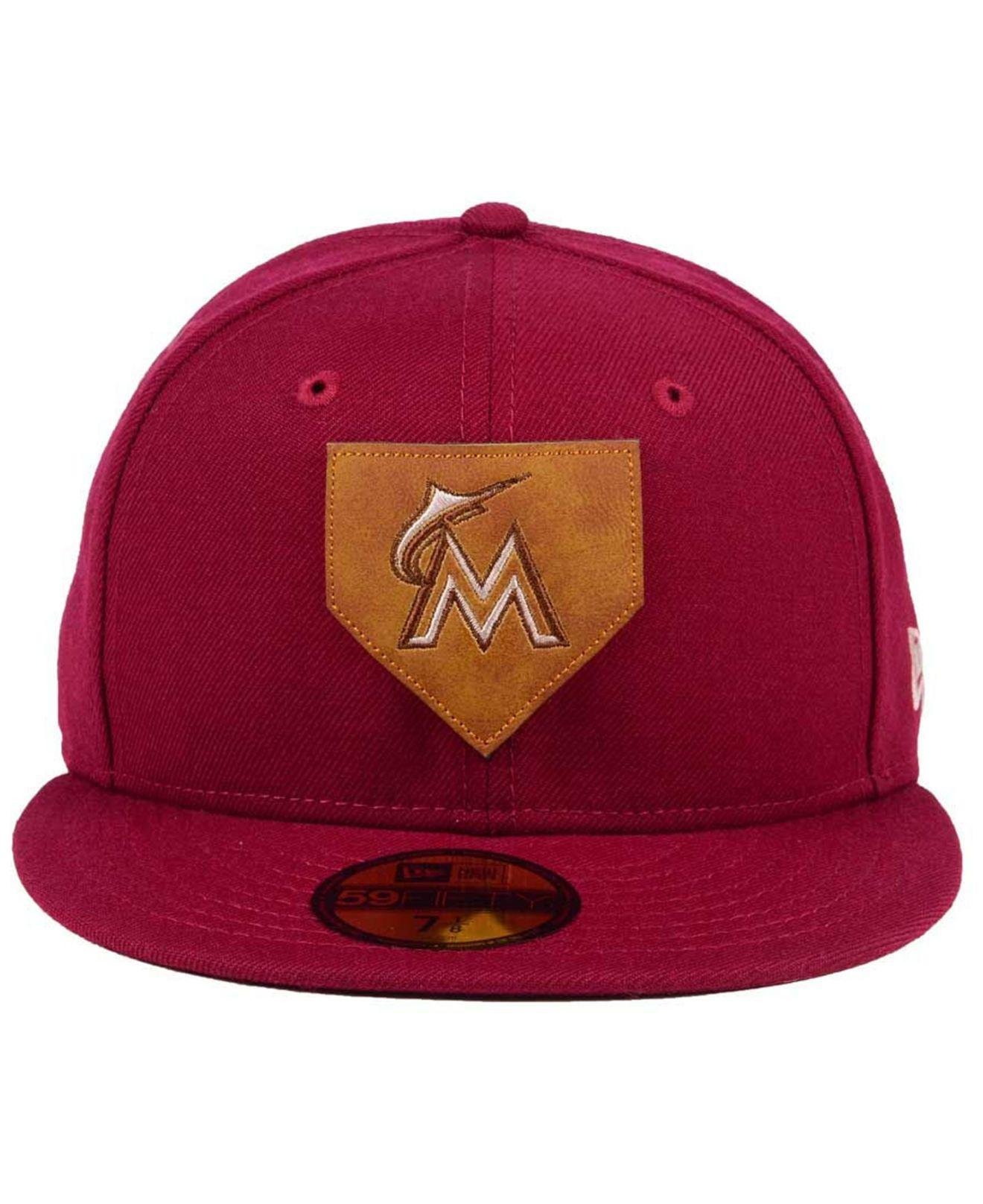 7c3748fcf7b Lyst - KTZ Miami Marlins The Logo Of Leather 59fifty Fitted Cap in Red for  Men
