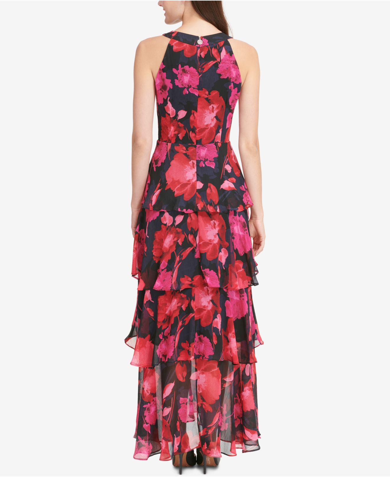 408416ac4fb Tommy Hilfiger Printed Tiered Chiffon Maxi Dress in Red - Lyst